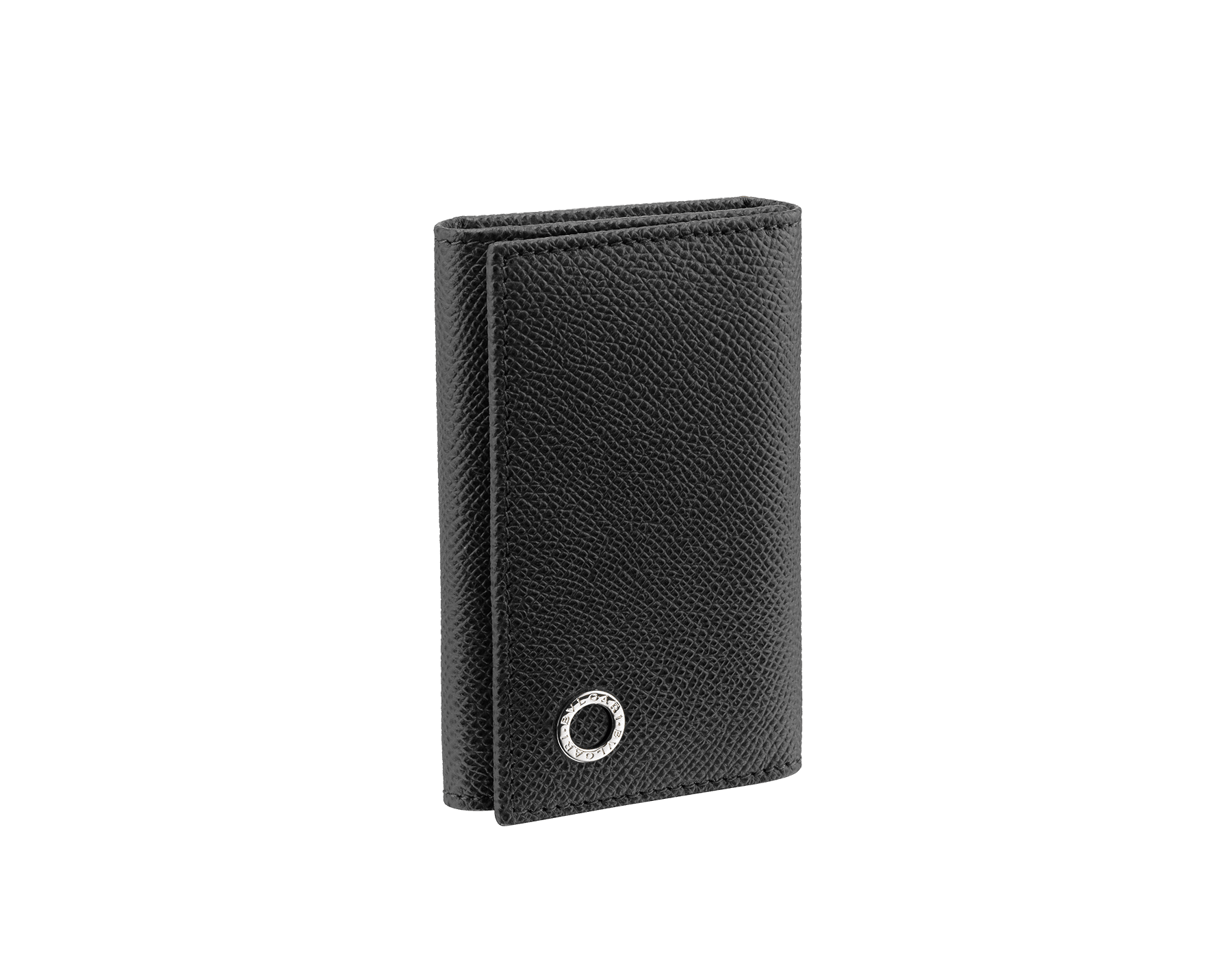 Small keyholder in black grain calf leather with brass palladium plated hardware featuring the Bvlgari-Bvlgari motif. Six internal key holders, two pockets and one open compartment inside. Flap closure with press button. BBM-KEYHOLDER-S image 1