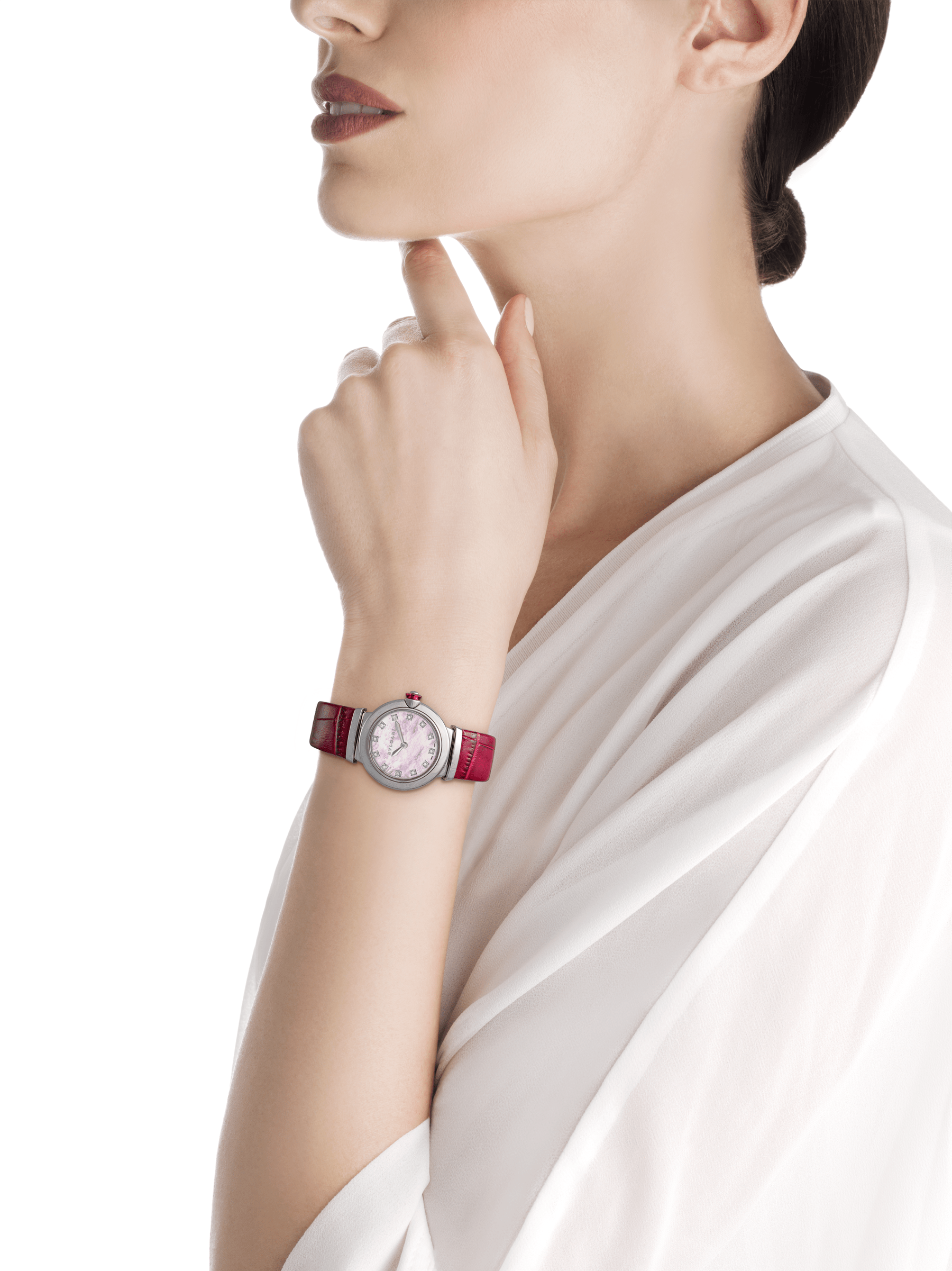 LVCEA watch with stainless steel case, pink mother-of-pearl dial, diamond indexes and burgundy alligator bracelet. 102608 image 2