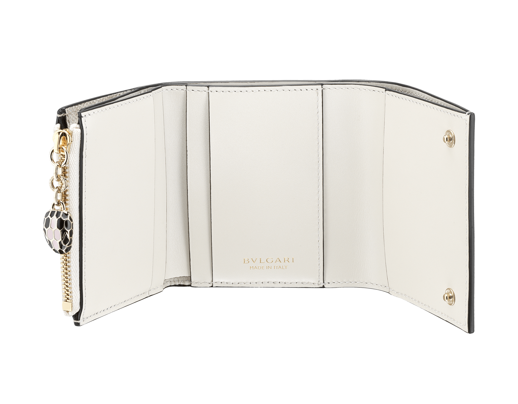 Serpenti Forever super compact wallet in milky opal metallic karung skin and milky opal calf leather. Iconic snakehead stud closure in black and glitter milky opal enamel, with black enamel eyes. SEA-SUPERCOMPACT-MK image 3