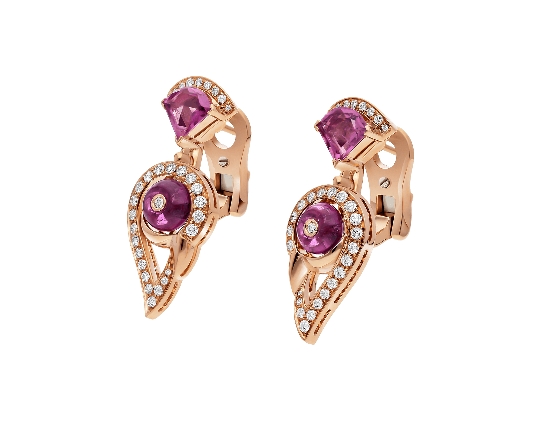 Boucles d'oreille DIVAS' DREAM en or rose 18 K serties de rubellite rose et tourmaline rose avec pavé diamants. 354079 image 2