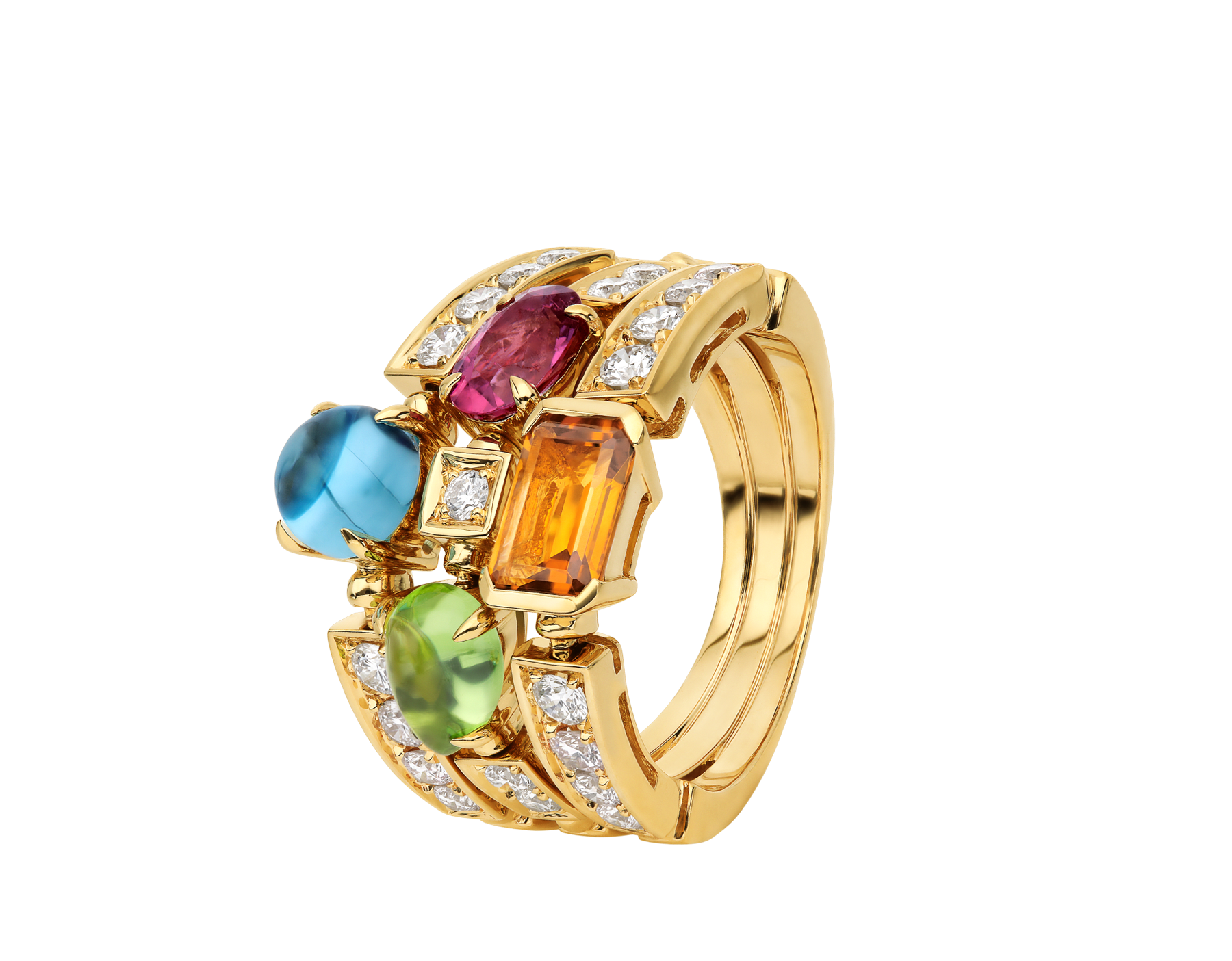 Colore three-band 18 kt yellow gold ring set with pink tourmaline, peridot, citrine quartz, blue topaz and pavé diamonds AN852171 image 1