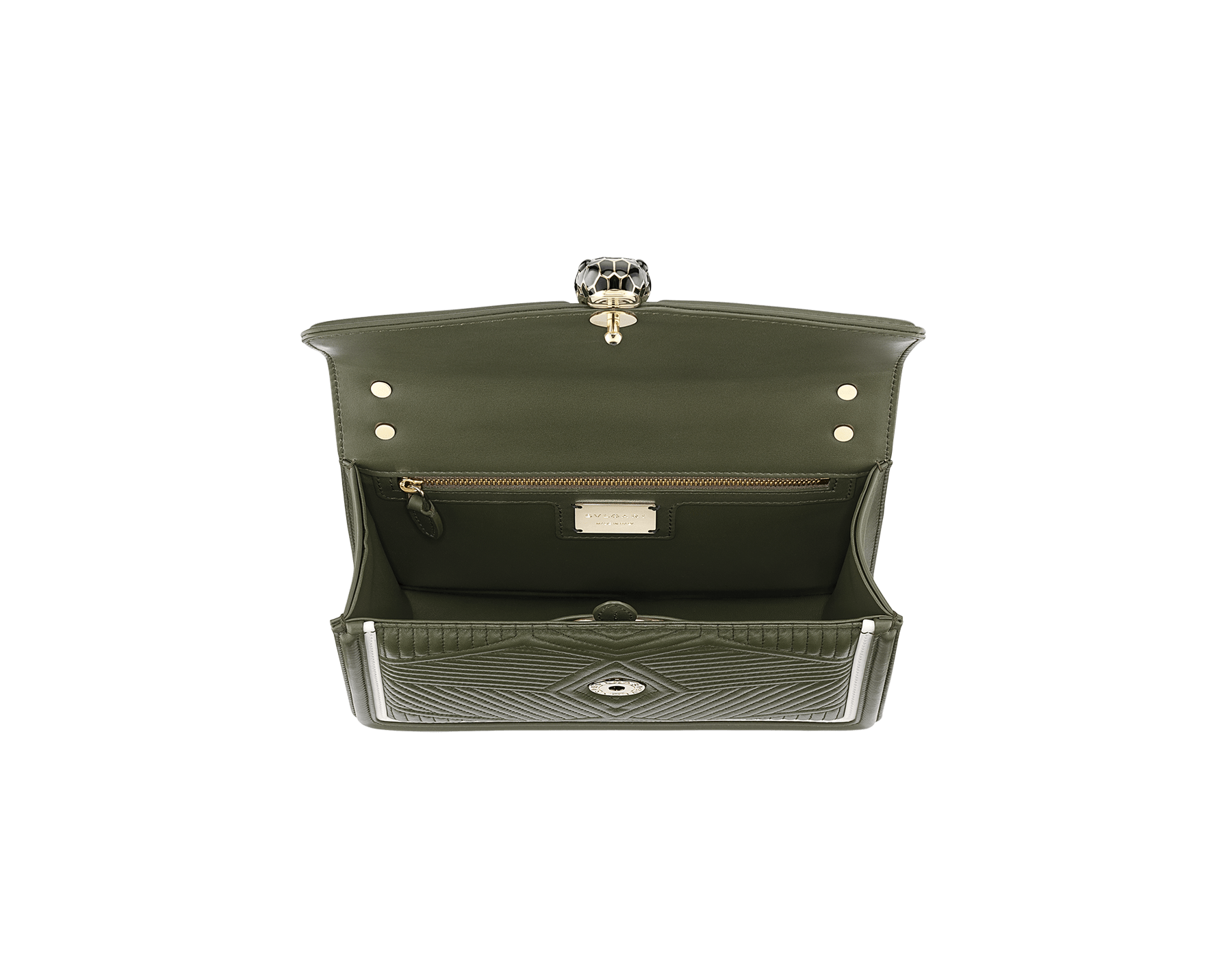 """""""Serpenti Diamond Blast"""" shoulder bag in mimetic jade quilted nappa leather and mimetic jade smooth calf leather frames. Iconic snakehead closure in light gold plated brass enriched with matte black and shiny mimetic jade enamel and black onyx eyes. 289731 image 2"""