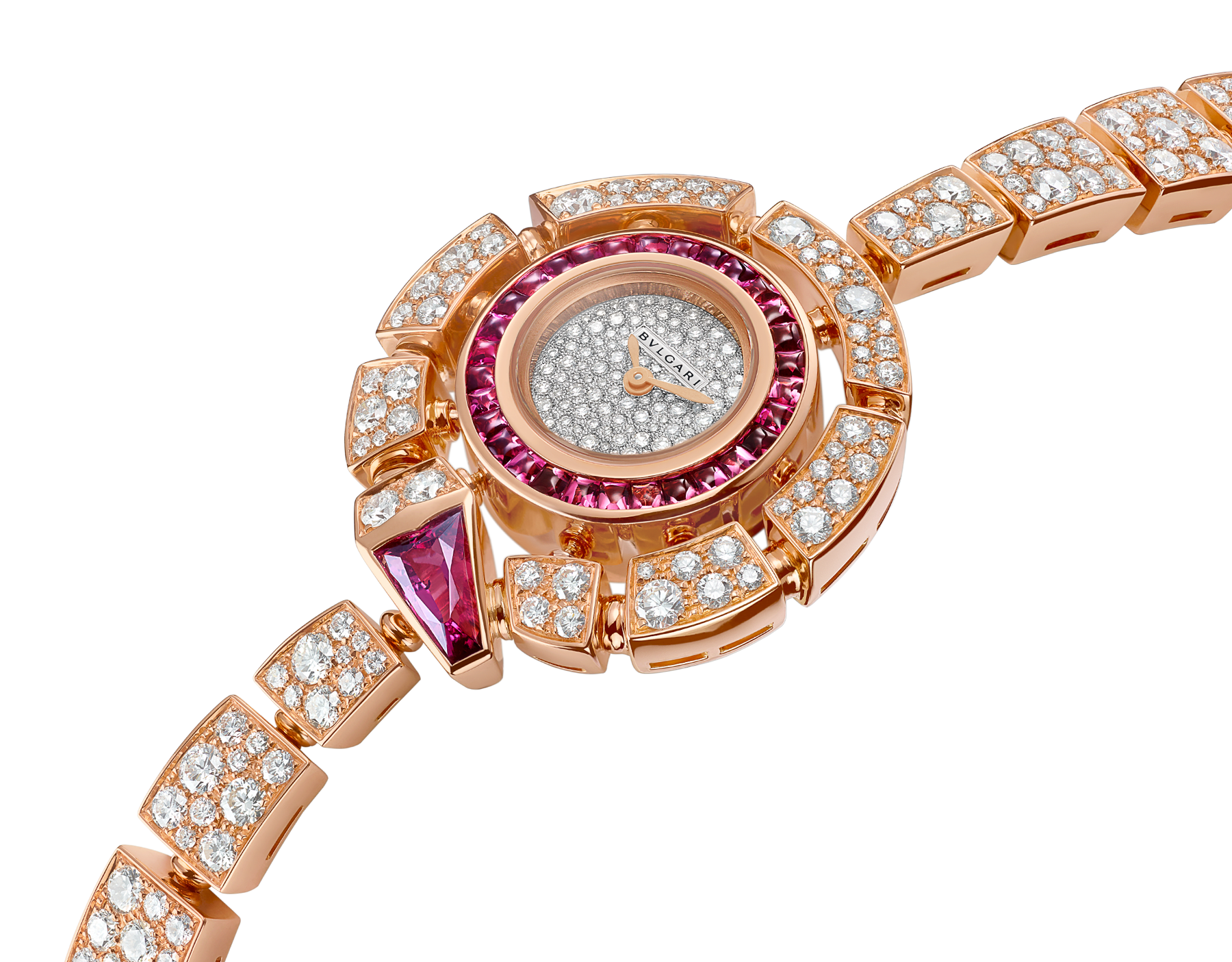 Montre Serpenti Incantati avec boîtier de 30 mm en or rose 18 K serti de diamants taille brillant et rubellites, cadran pavé diamants en serti « neige », bracelet en or rose 18 K serti de diamants taille brillant. 102536 image 2