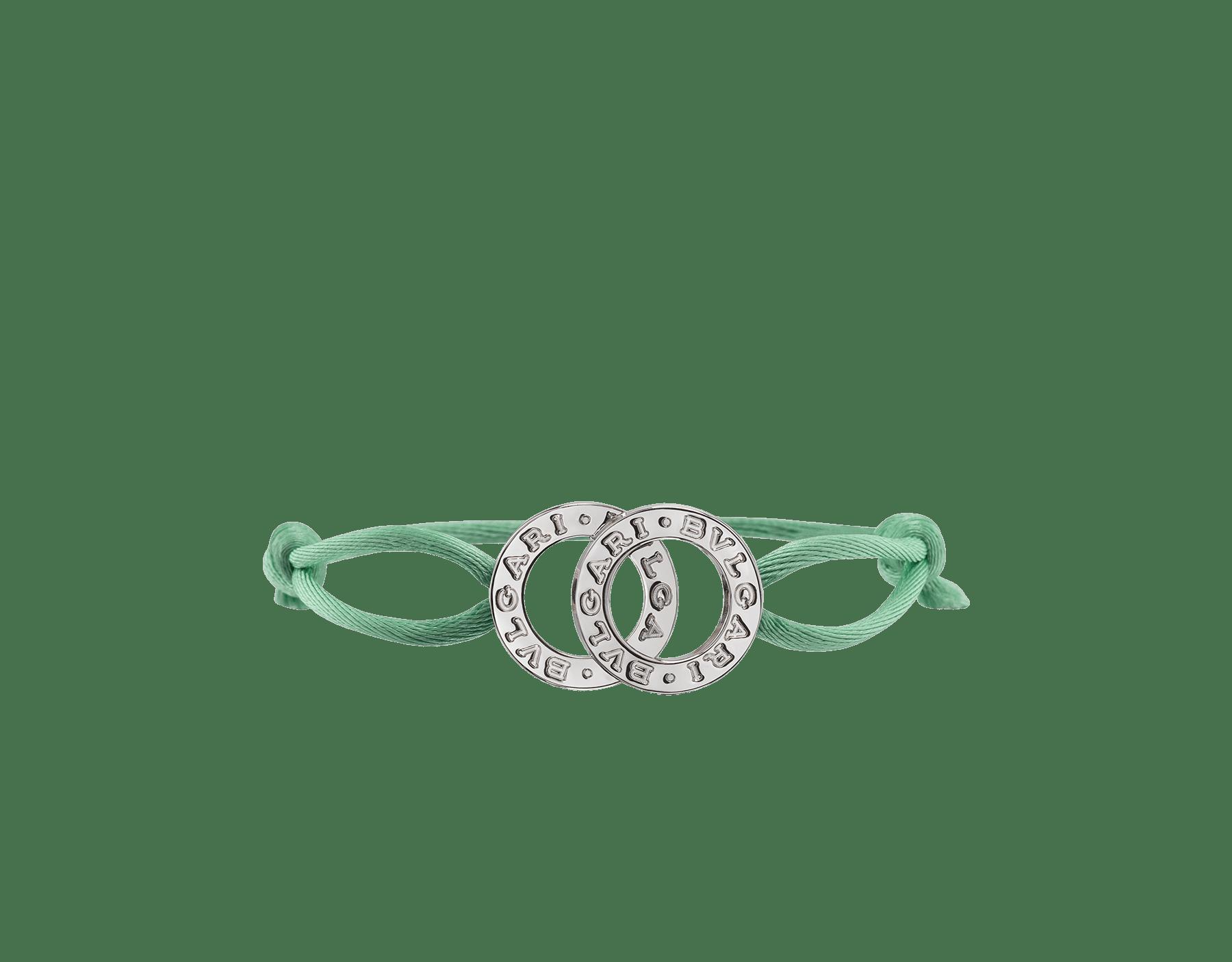 BVLGARI BVLGARI 手環,採用熱帶綠松石色繩帶,飾以經典純銀雙品牌標誌元素。 288453 image 1