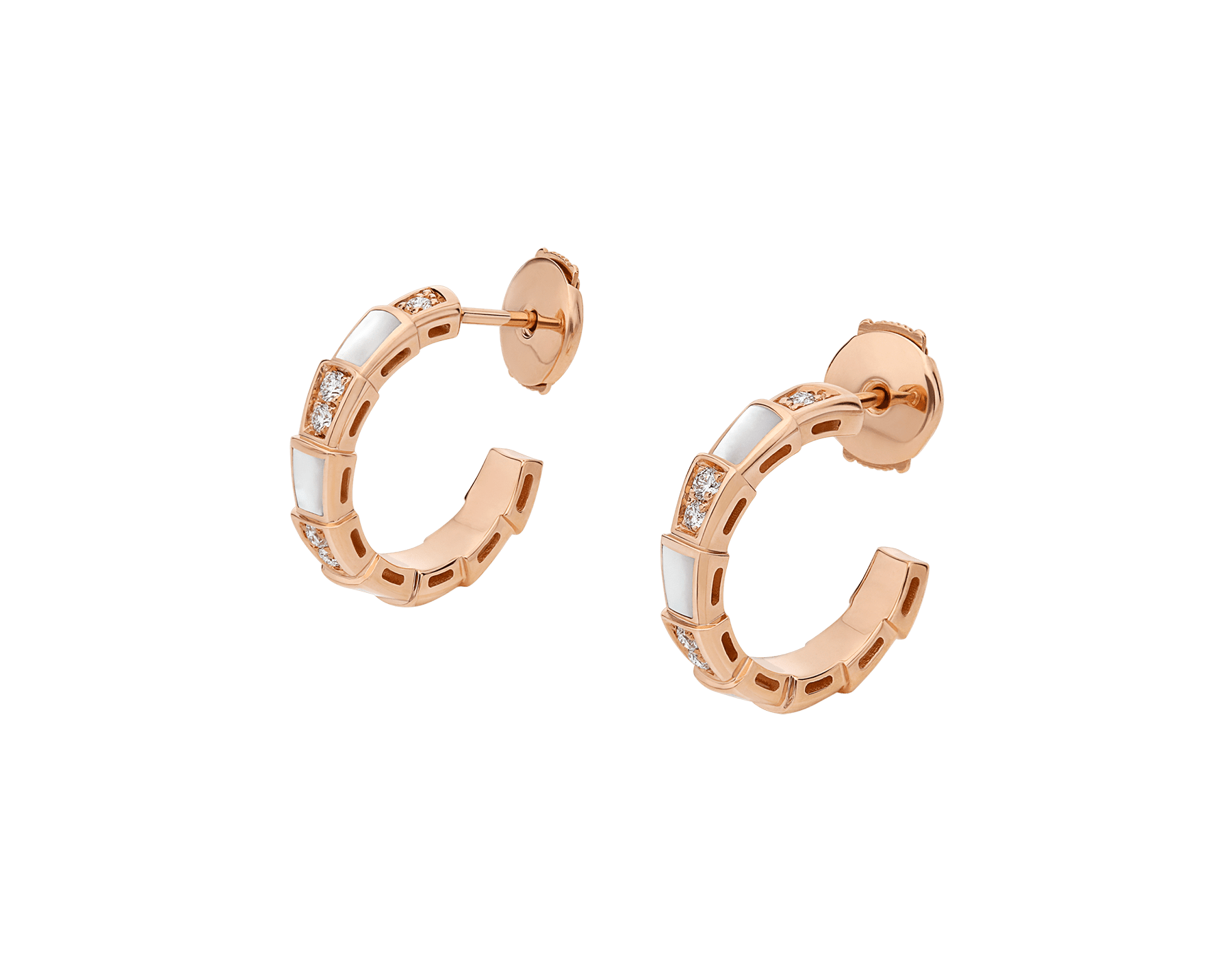 Serpenti Viper 18 kt rose gold earrings set with mother-of-pearl elements and pavé diamonds (0.31 ct) 356170 image 2