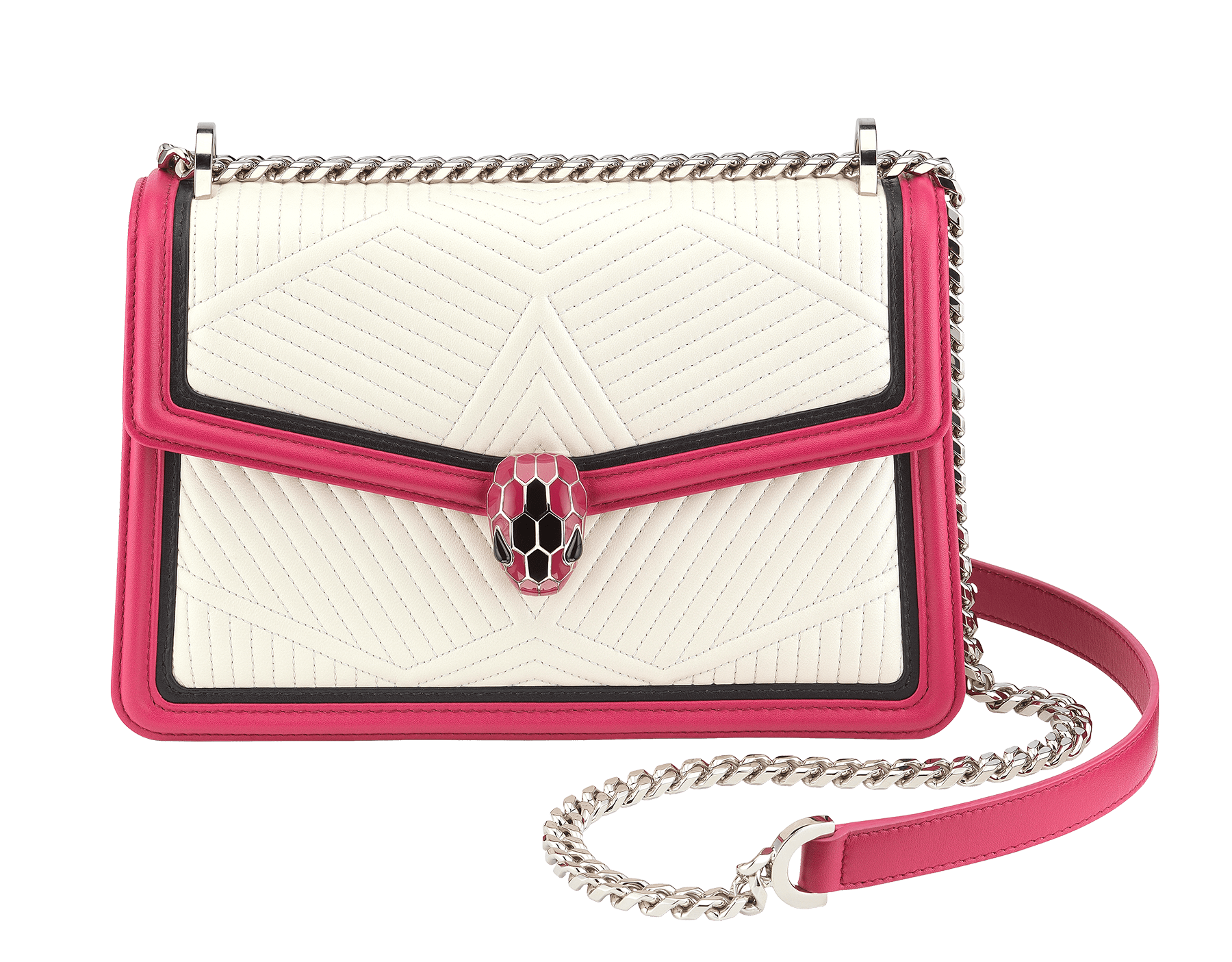 """Serpenti Diamond Blast"" shoulder bag in white agate quilted nappa leather body and black and jazzy tourmaline calf leather frames. Iconic snakehead closure in palladium plated brass enriched with black and jazzy tourmaline enamel and black onyx eyes. 287187 image 1"