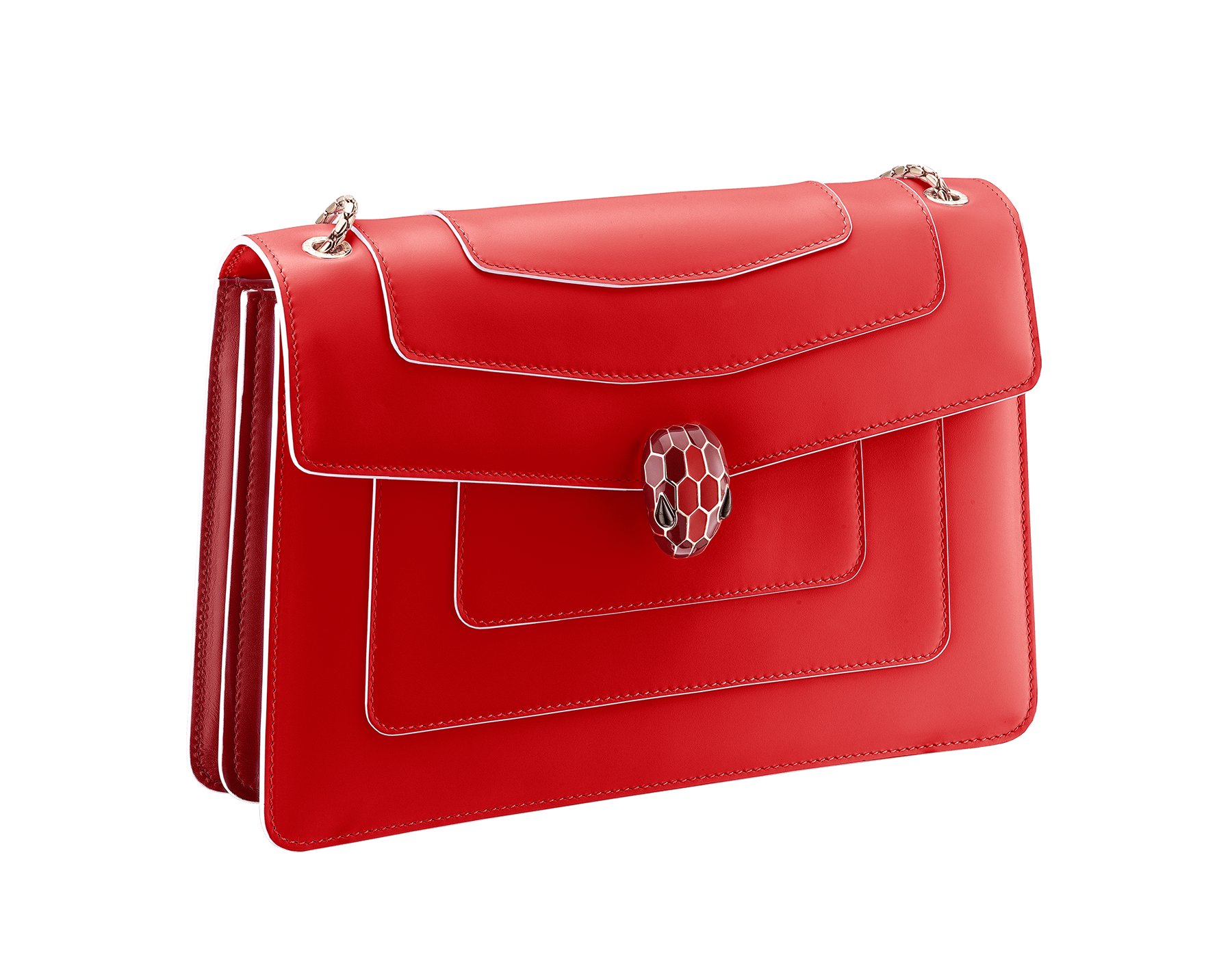 """Serpenti Forever"" shoulder bag in white agate calf leather body and ruby red calf leather sides. Iconic snakehead closure in light gold plated brass enriched with ruby red and white agate enamel and black onyx eyes. 521-BCL image 2"