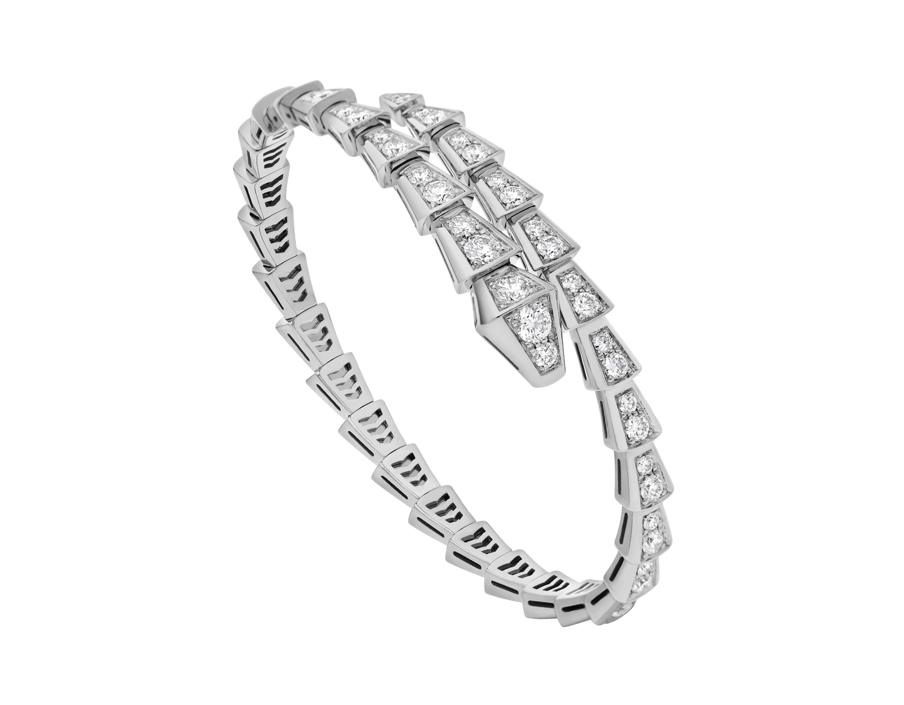 Serpenti Viper one-coil slim bracelet in 18 kt white gold, set with full pavé diamonds. BR857492 image 1