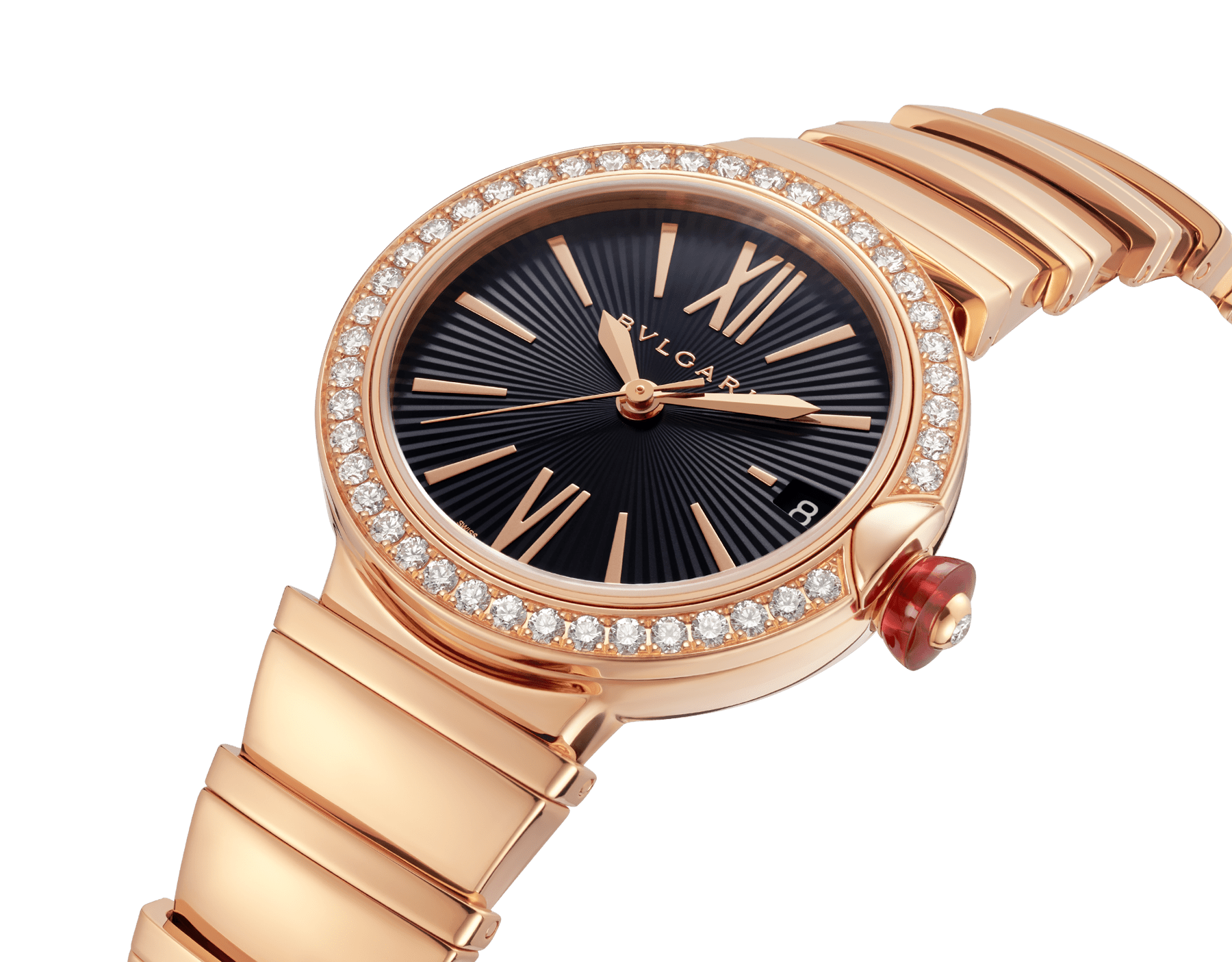 LVCEA watch with 18 kt rose gold and brilliant-cut diamond case, black opaline dial and 18 kt rose gold bracelet. 102260 image 2