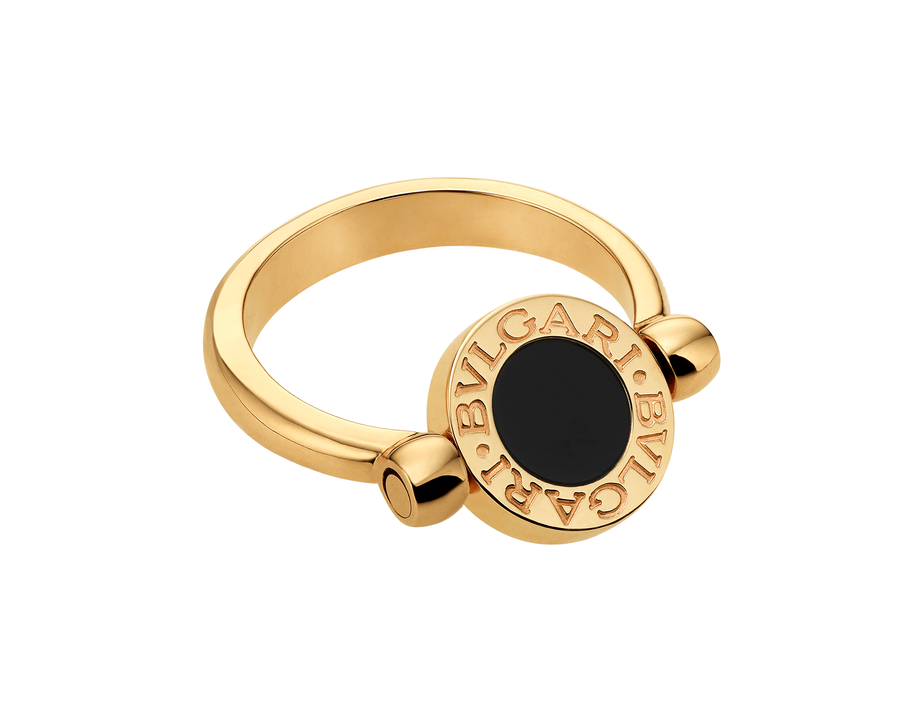 BVLGARI BVLGARI 18 kt yellow gold flip ring set with mother-of-pearl and onyx elements AN857191 image 2