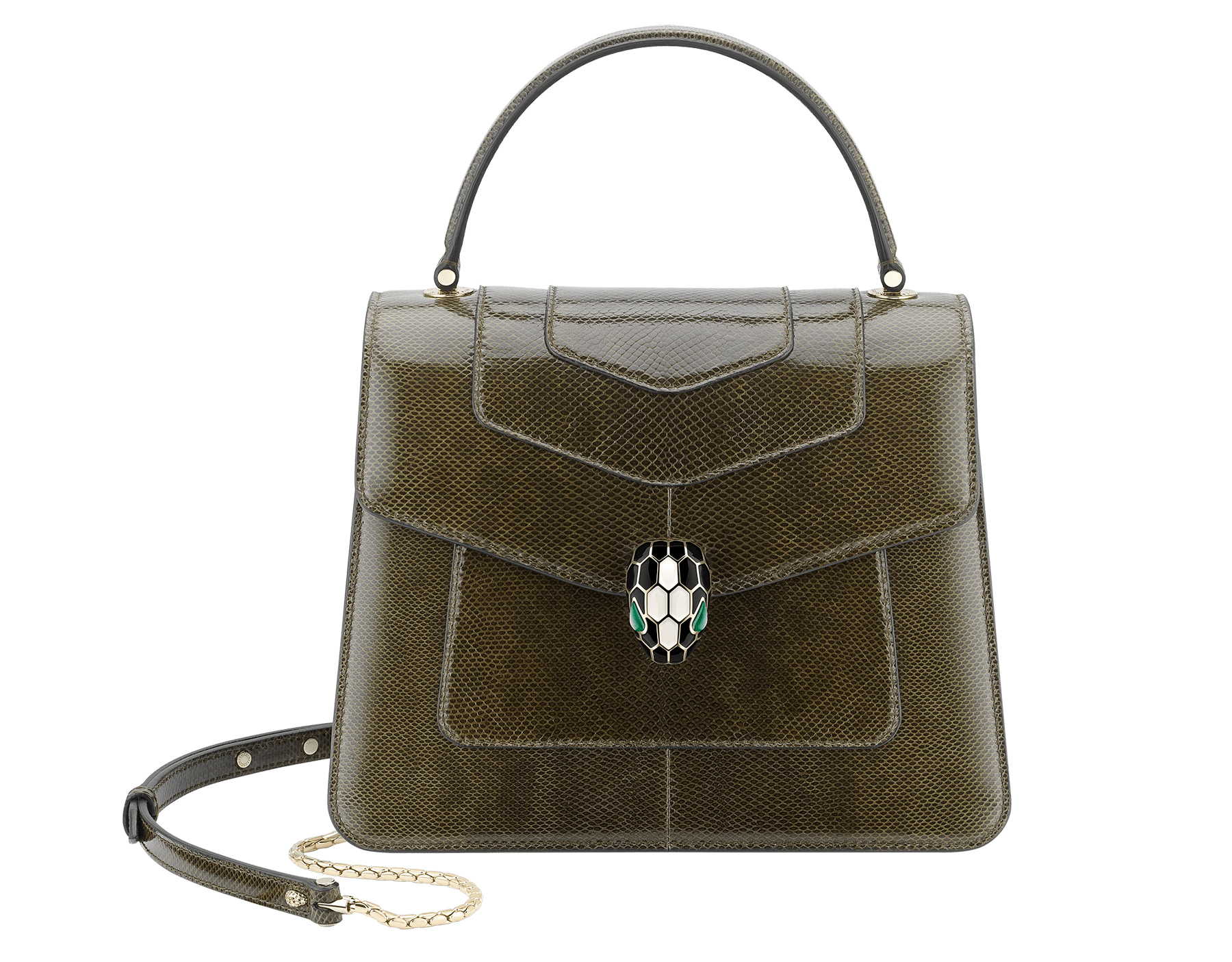 """Serpenti Forever"" top handle bag in mimetic jade shiny karung skin. Iconic snakehead closure in light gold plated brass enriched with black and white enamel and green malachite eyes. 289927 image 1"