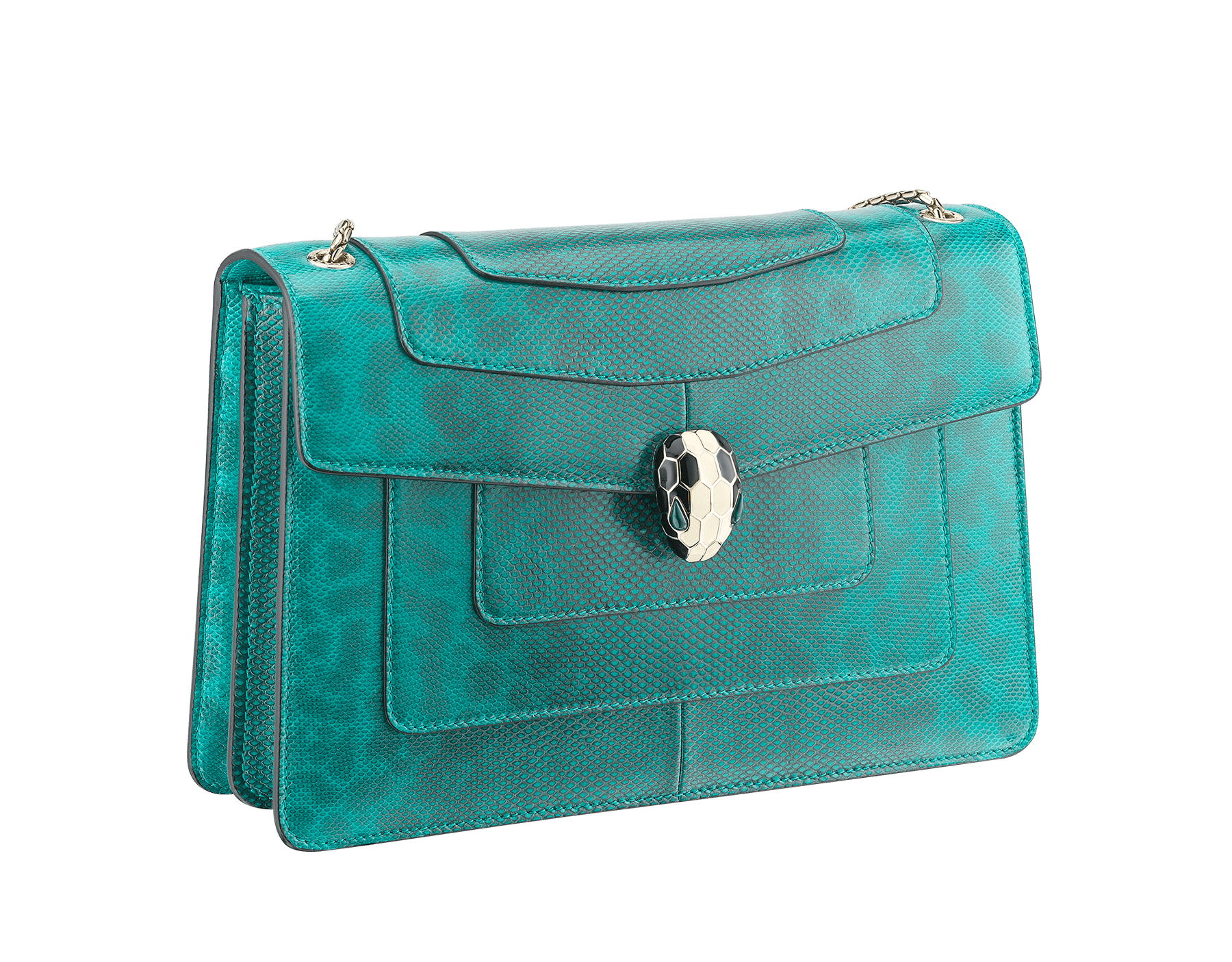 Serpenti Forever shoulder bag in tropical turquoise shiny karung skin. Snakehead closure in light gold plated brass decorated with black and white enamel, and green malachite eyes. 287917 image 2