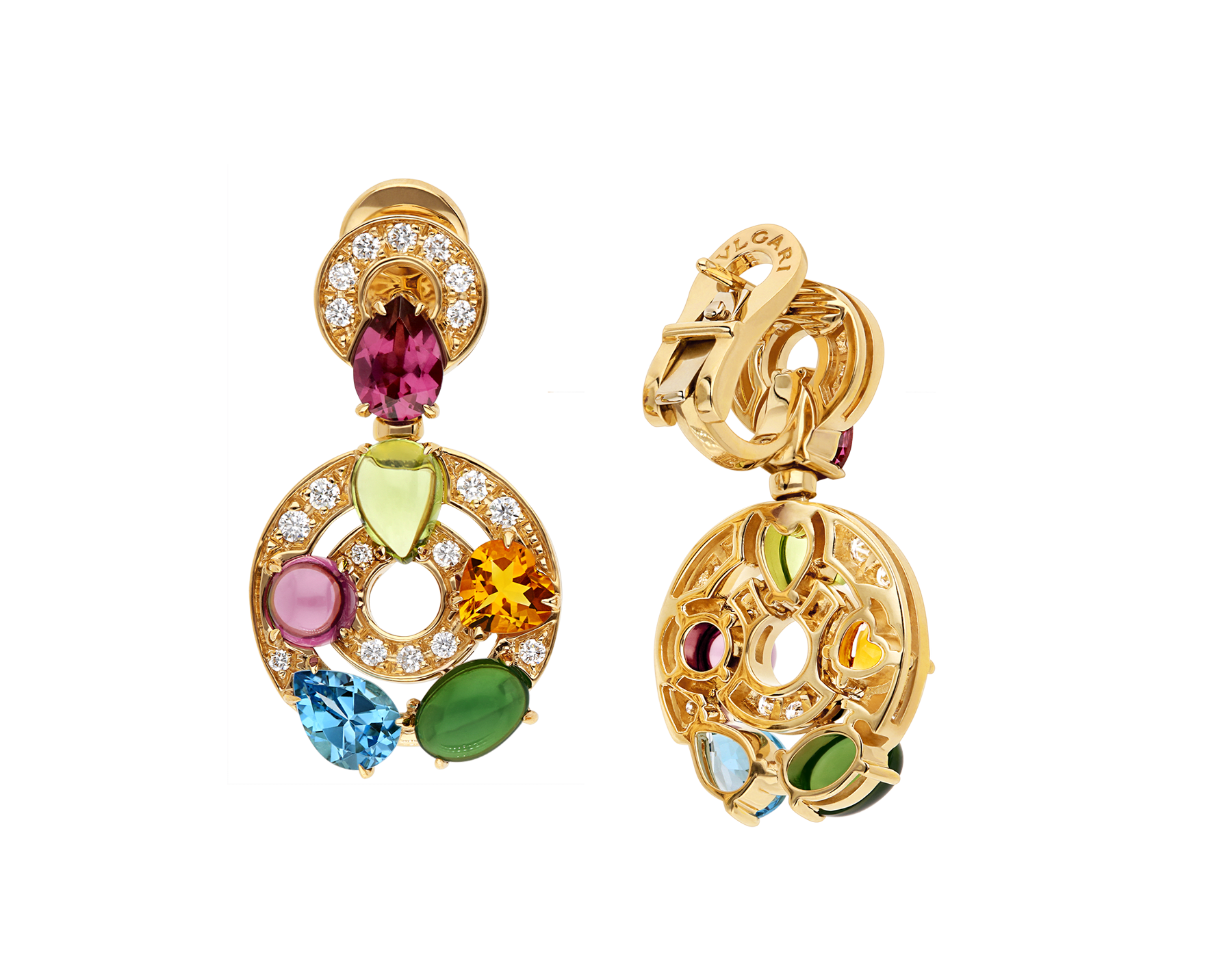 Astrale 18kt yellow gold earrings set with blue topazes, green tourmalines, peridots, citrine quartz, rhodolite garnets and pavé diamonds 339141 image 3