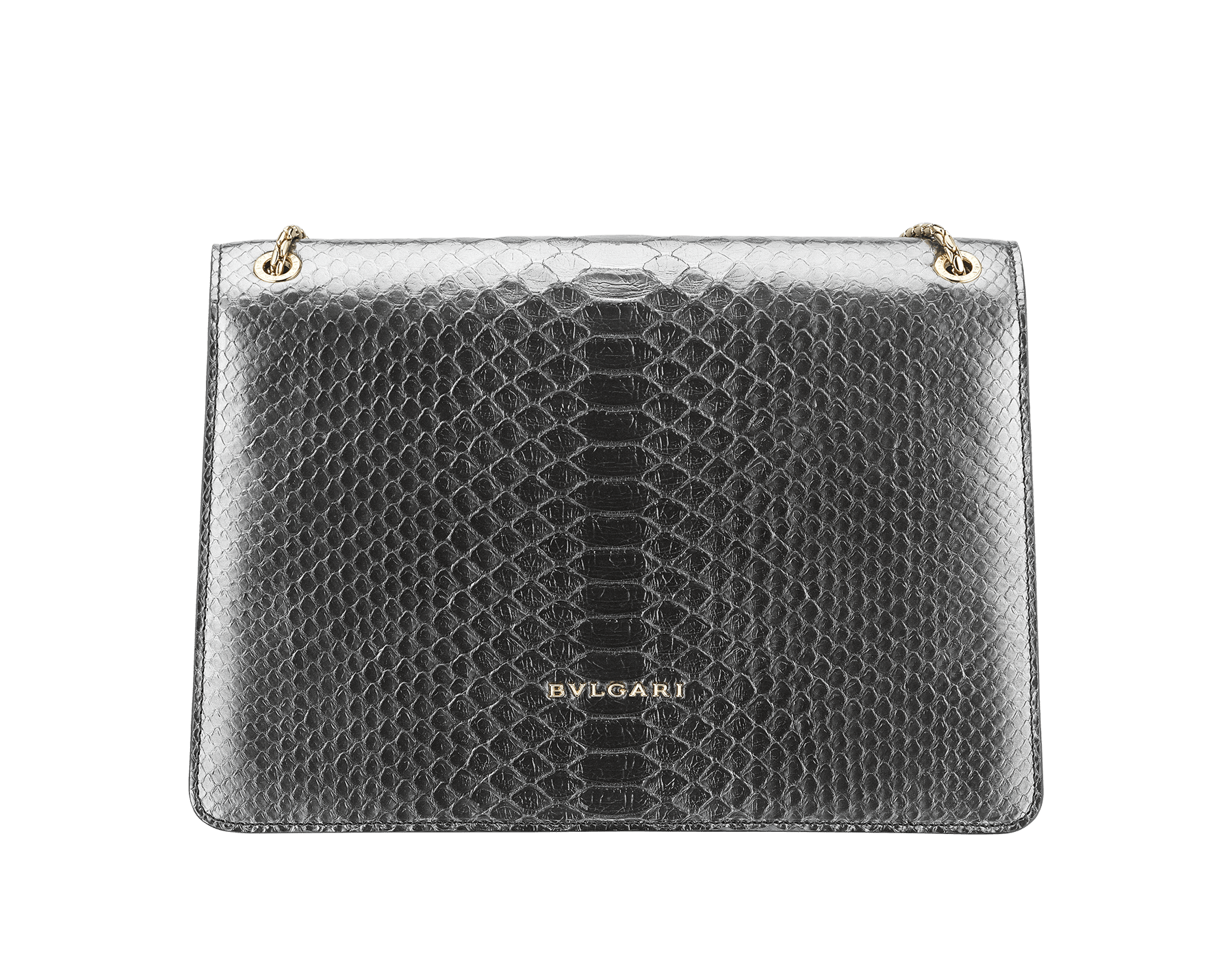 """""""Serpenti Forever"""" shoulder bag black Diamond Glam python skin. Iconic snake head closure in palladium plated brass enriched with black enamel and black onyx eyes. 521-Pc image 3"""