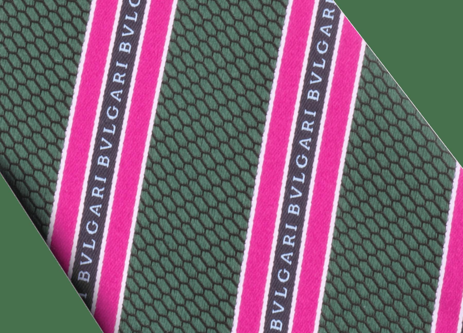 祖母綠森林色 Logo RegiScales 圖案,上等提花絲七褶領帶。 244189 image 2