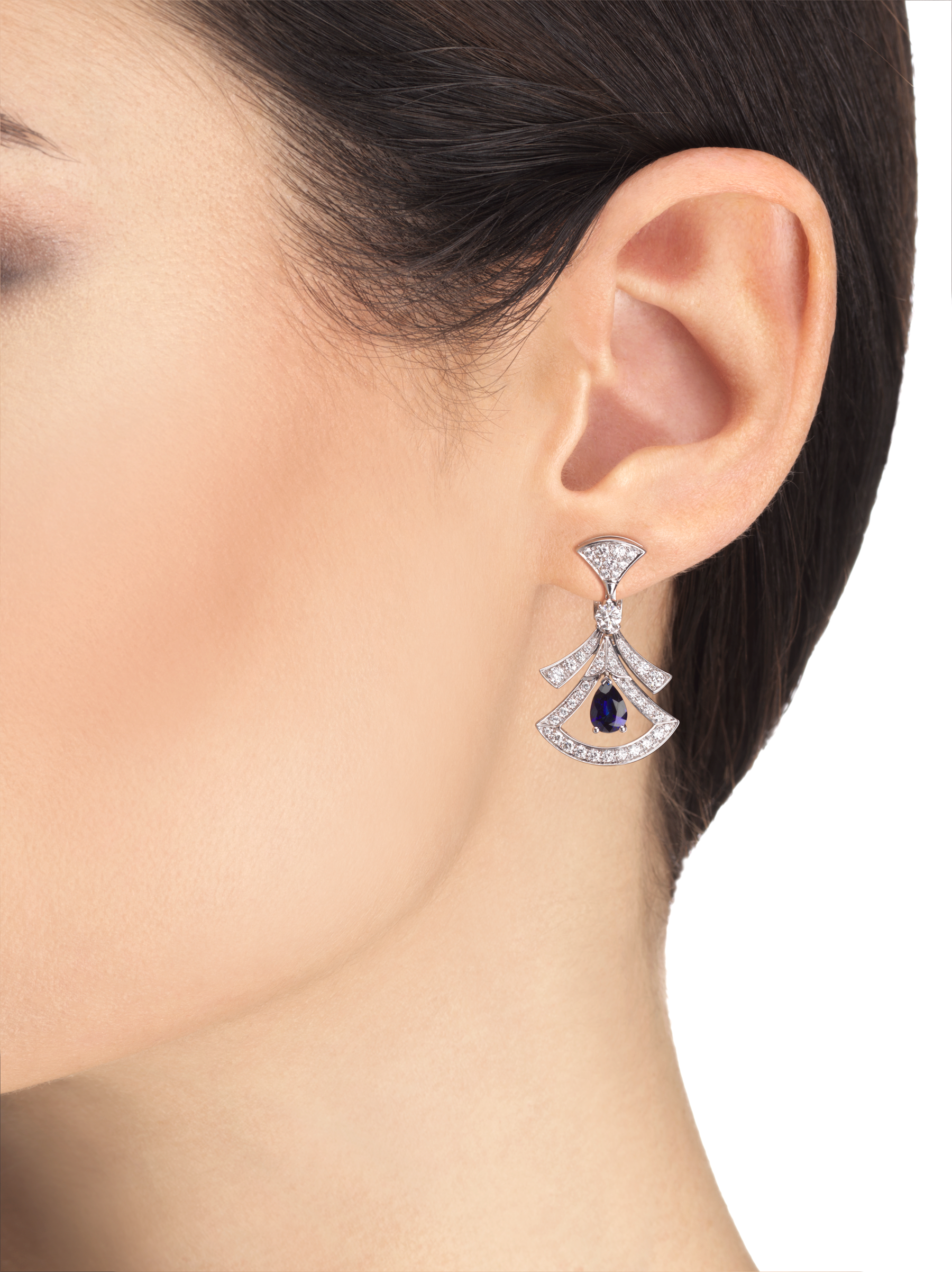 DIVAS' DREAM 18 kt white gold openwork earrings, set with pear-shaped sapphires, round brilliant-cut and pavé diamonds. 357324 image 4