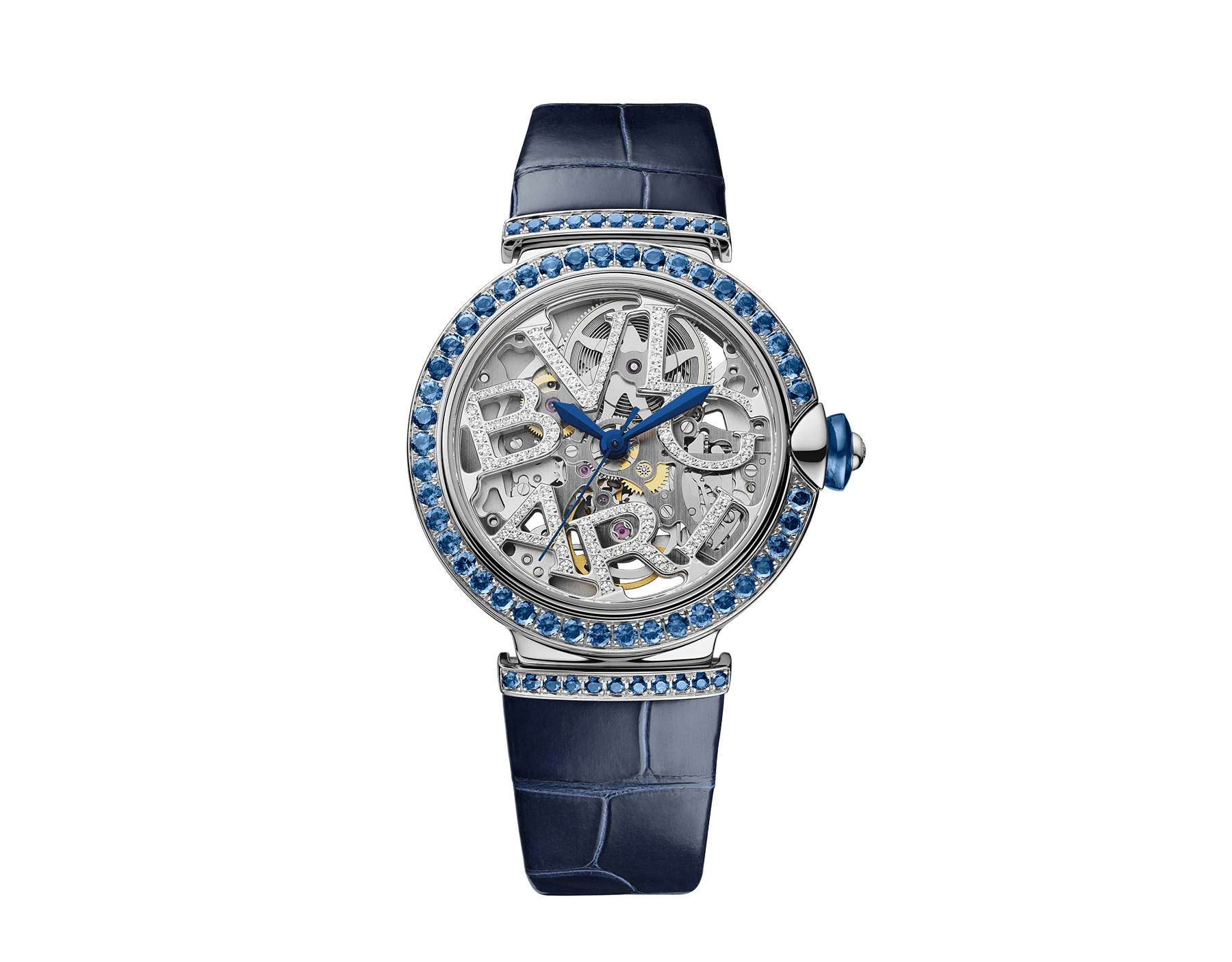 LVCEA Skeleton watch with mechanical movement, automatic winding and skeleton execution, 18 kt white gold case and links set with round brilliant-cut sapphires, 18 kt white gold openwork BVLGARI logo dial set with round brilliant-cut diamonds, blue lacquered hands and blue alligator bracelet 103091 image 1
