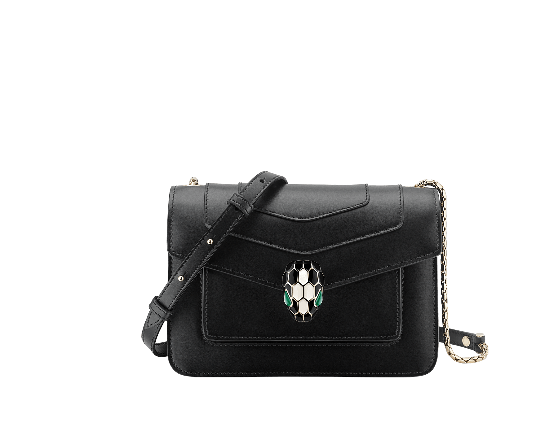 """Serpenti Forever"" crossbody bag in black calf leather. Iconic snakehead closure in light gold plated brass enriched with black and white agate enamel and green malachite eyes. 289677 image 1"