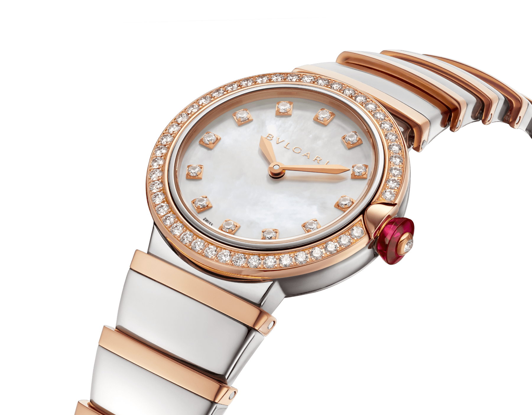 LVCEA watch with stainless steel case, 18 kt rose gold bezel set with brilliant-cut diamonds, white mother-of-pearl dial, diamond indexes and bracelet in stainless teel and 18 kt rose gold 102475 image 2