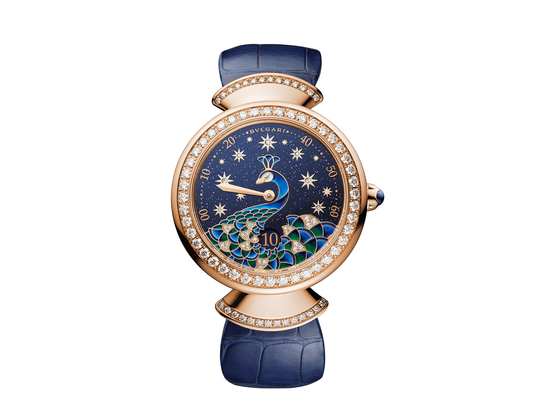 DIVAS' DREAM watch with mechanical manufacture movement, automatic winding, jumping hours and retrograde minutes (180°). 18 kt rose gold case, 18 kt rose gold bezel and fan-shaped links both set with brilliant-cut diamonds, aventurine dial with miniature painted peacock, stars and indexes in brilliant-cut diamonds, blue alligator strap 103114 image 1