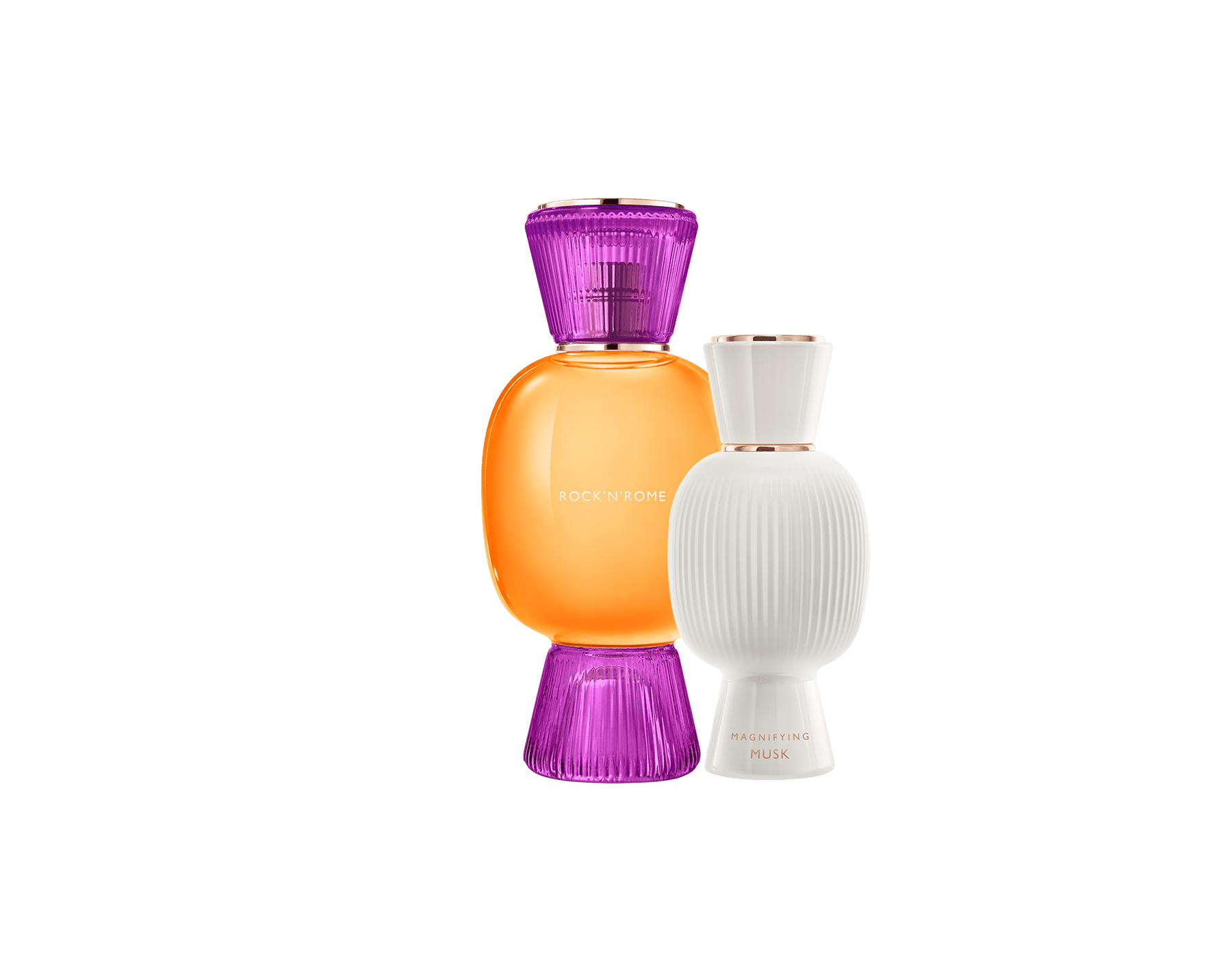 An exclusive perfume set, as bold and unique as you. The liquorous floriental Rock'n'Rome Allegra Eau de Parfum blends with the warm touch of the Magnifying Musk Essence, creating an irresistible personalised women's perfume. Perfume-Set-Rock-n-Rome-Eau-de-Parfum-and-Musk-Magnifying image 1