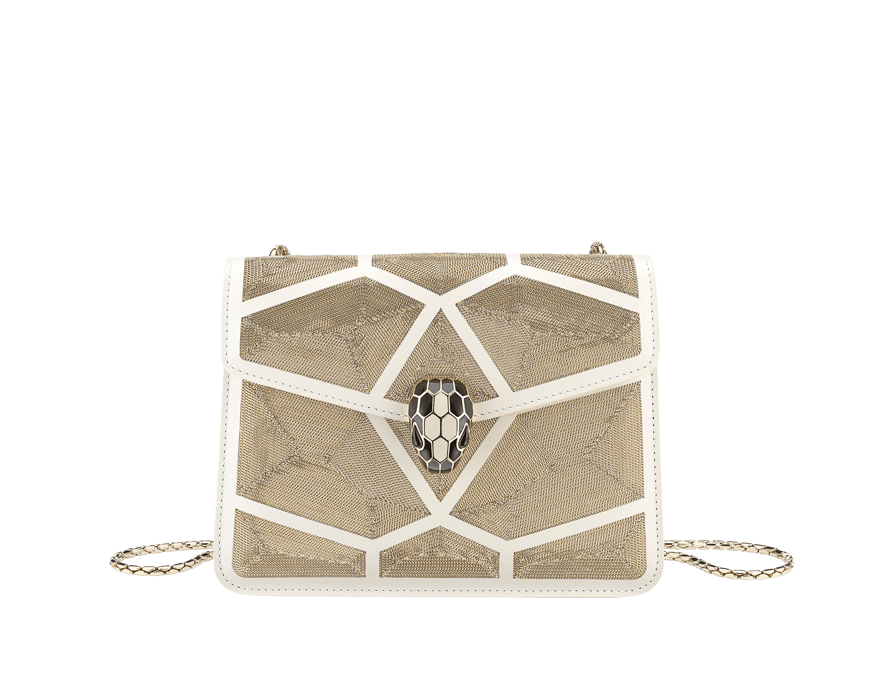 """Serpenti Forever"" crossbody bag in white agate calf leather with ""Million Chain"" décor. Iconic snake head closure in light gold plated brass enriched with black and white agate enamel, and black onyx eyes. 288907 image 1"