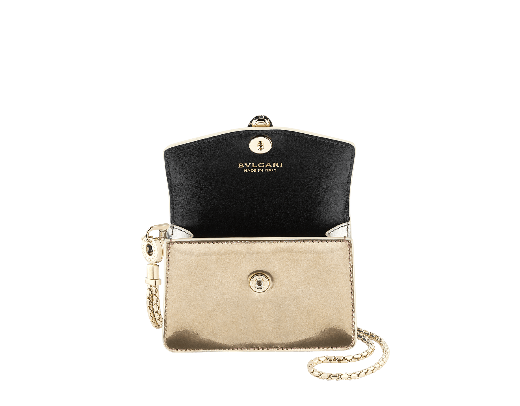 Serpenti Forever Holiday Season neck credit card holder in antique bronze and silver brushed metallic calf leather. Snakehead closure in light gold plated brass embellished with black and glitter antique bronze enamel, and black onyx eyes. 289490 image 2