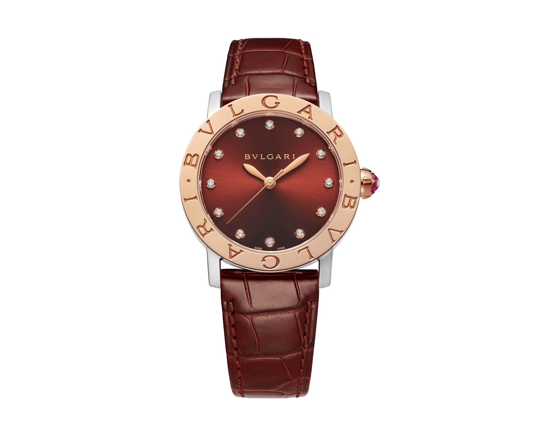 BVLGARI BVLGARI watch with stainless steel case, 18 kt rose gold bezel, brown satiné soleil lacquered dial, golden diamond indexes and shiny dark brown alligator bracelet 102742 image 1