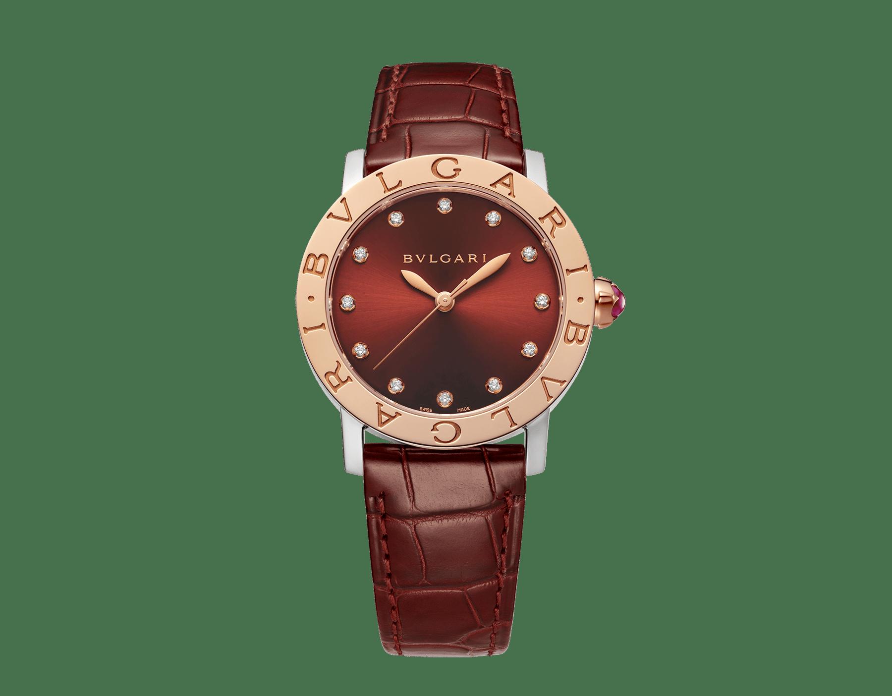 Relógio BVLGARIBVLGARI com caixa em aço inoxidável, bezel em ouro rosa 18K, mostrador laqueado acetinado marrom soleil, índices de diamante dourados e pulseira em couro de jacaré marrom escuro brilhante 102742 image 1