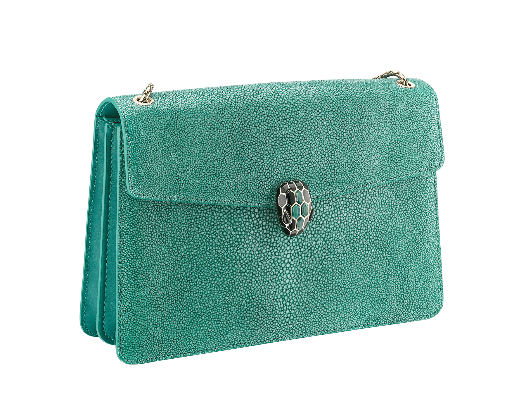 """Serpenti Forever"" shoulder bag in emerald green galuchat skin. Iconic snake head closure in light gold plated brass enriched with black enamel, malachite scales and black onyx eyes. 289026 image 2"