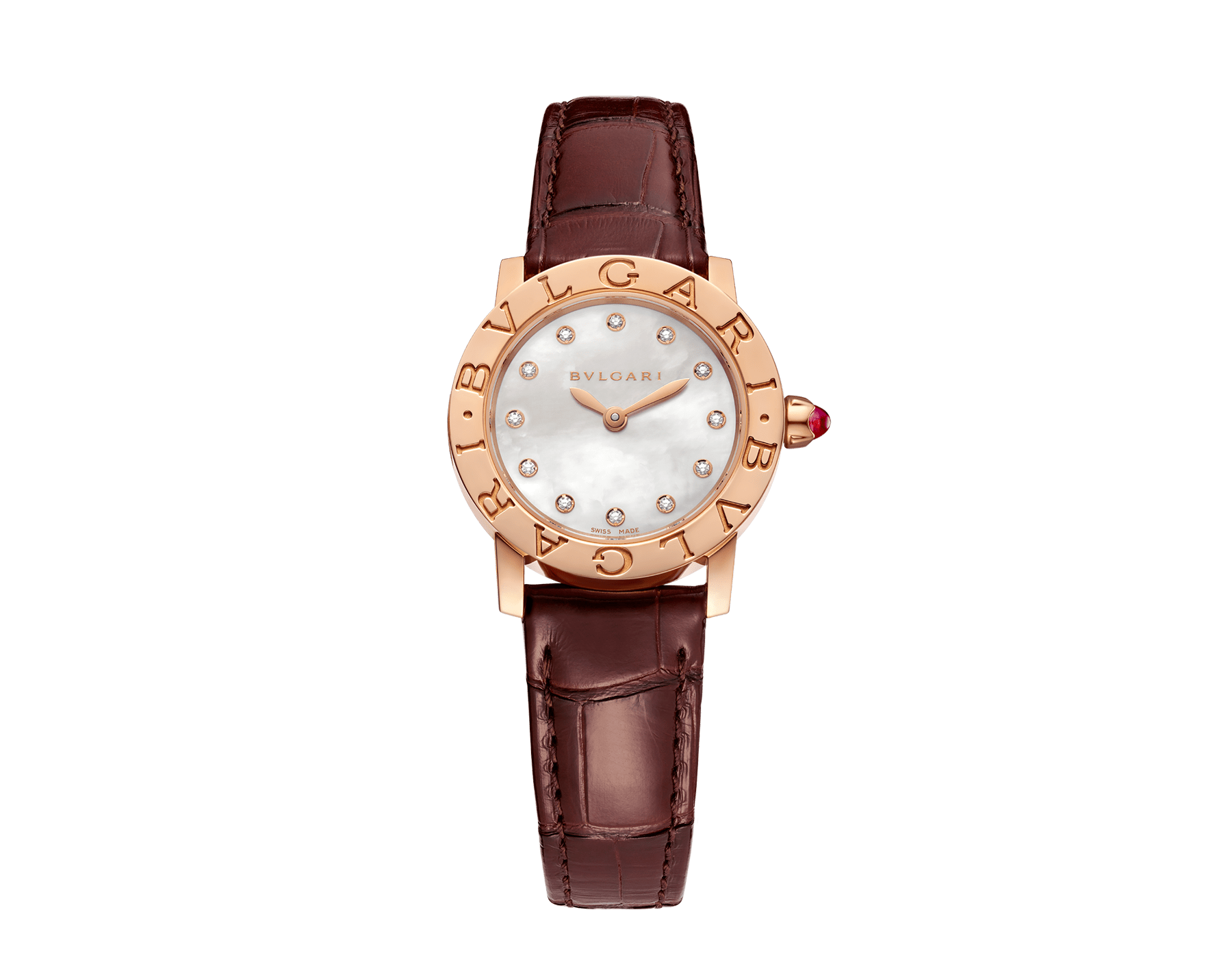 BVLGARI BVLGARI watch with 18 kt rose gold case, white mother-of-pearl dial, diamond indexes and shiny brown alligator bracelet 102751 image 1