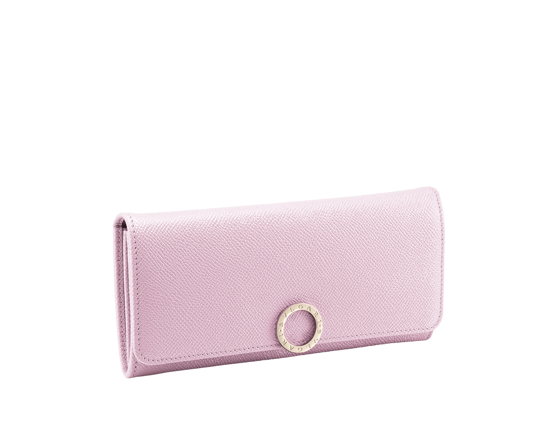 BVLGARI BVLGARI wallet pochette in rosa di francia grain calf leather and flamingo quartz nappa leather. Iconic logo clip closure in light gold plated brass. 579-WLT-SLI-POC-CLc image 1
