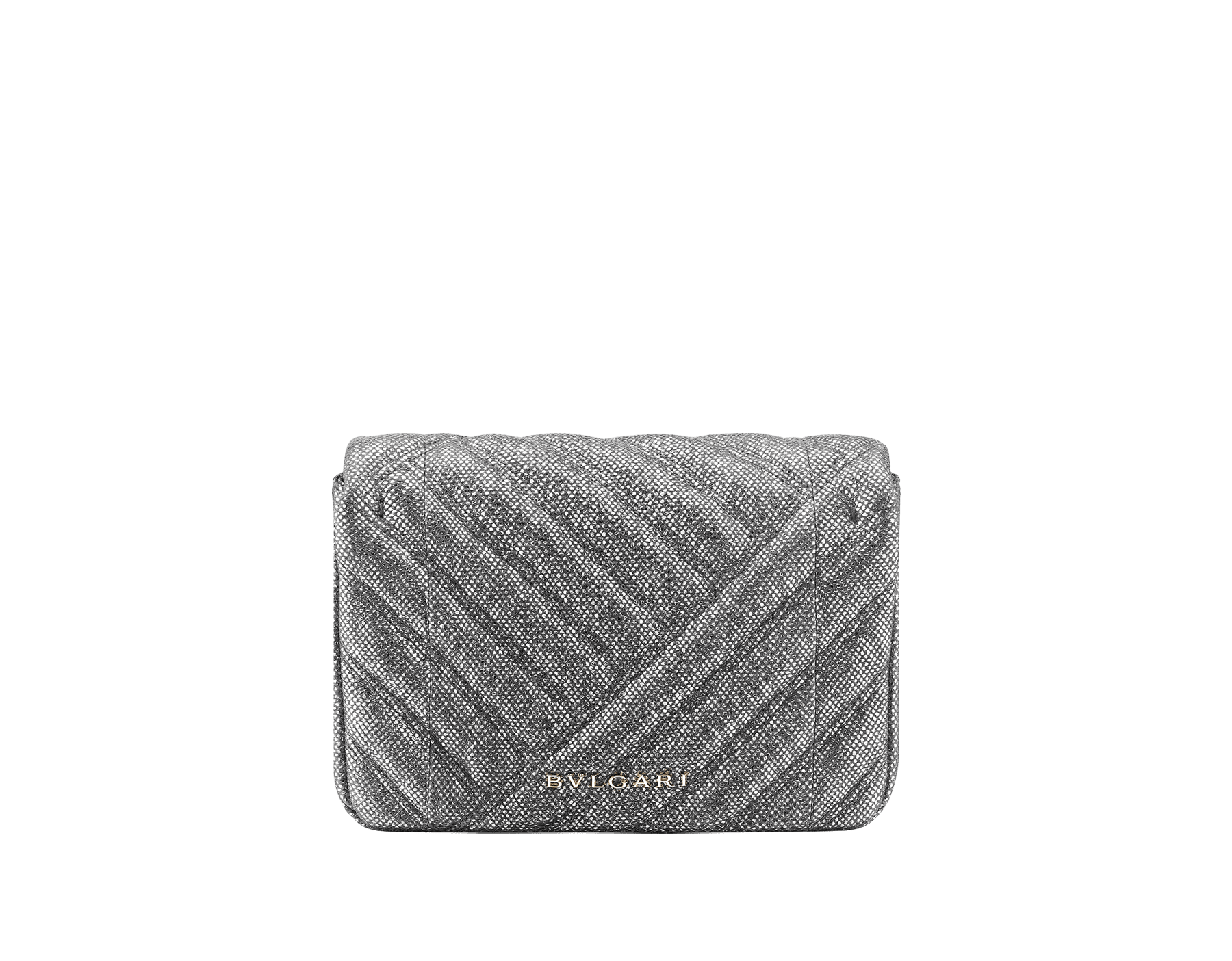 Serpenti Cabochon micro bag in soft matelassé charcoal diamond metallic karung, with a graphic motif. Tempting light gold brass-plated snake head closure in black and glitter charcoal diamond enamel and black onyx eyes. 288806 image 3