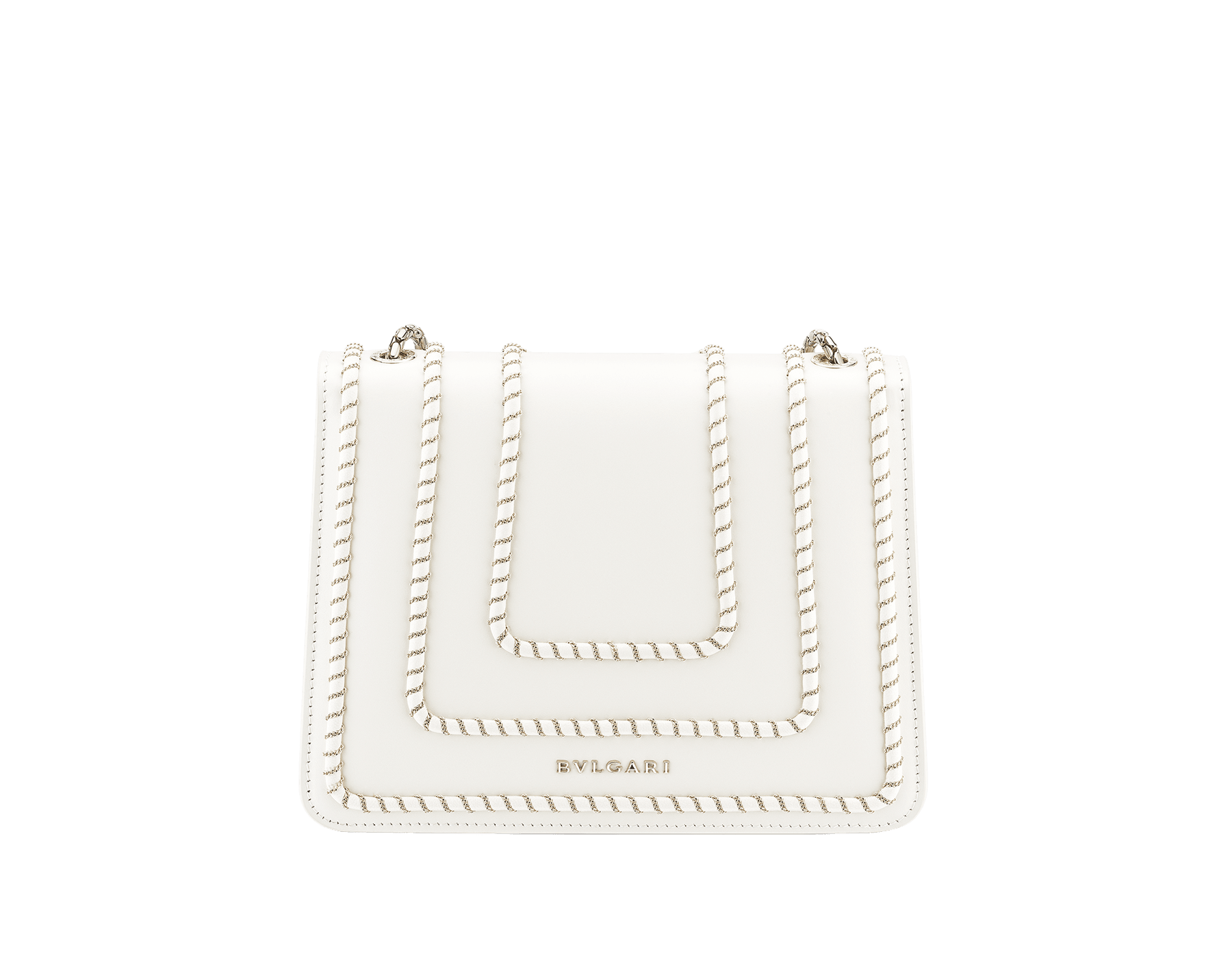 """""""Serpenti Forever"""" crossbody bag in black calf leather, featuring a Woven Chain motif. Iconic snakehead closure in light gold plated brass enriched with shiny black enamel and black onyx eyes 422-WC image 3"""