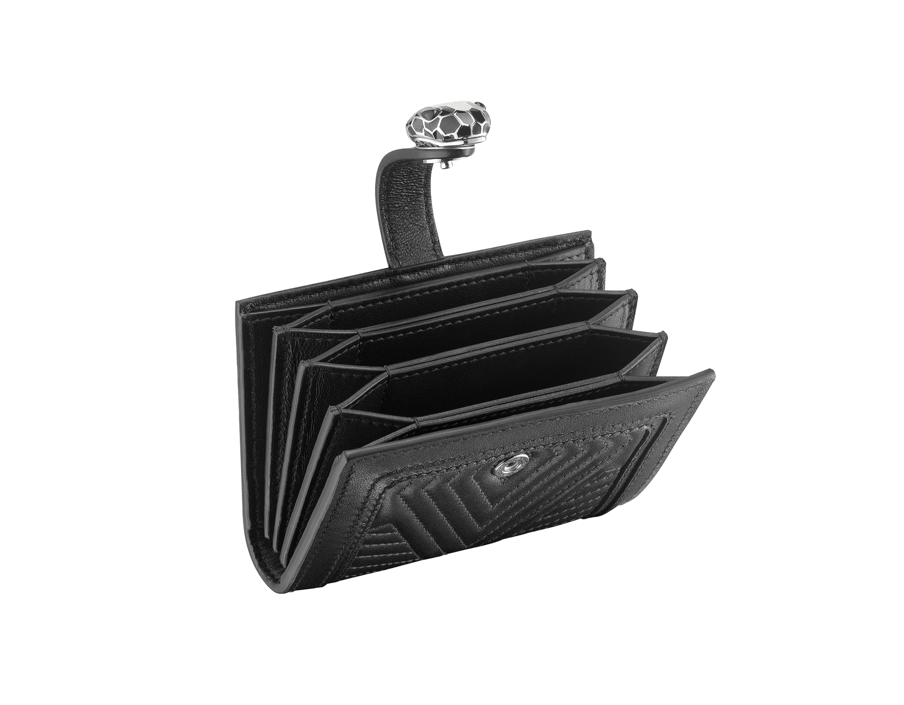 Serpenti Diamond Blast compact credit card holder in black matelassé nappa leather and black calf leather. Snakehead closure with black and white enamel and black enamel eyes. 288193 image 2