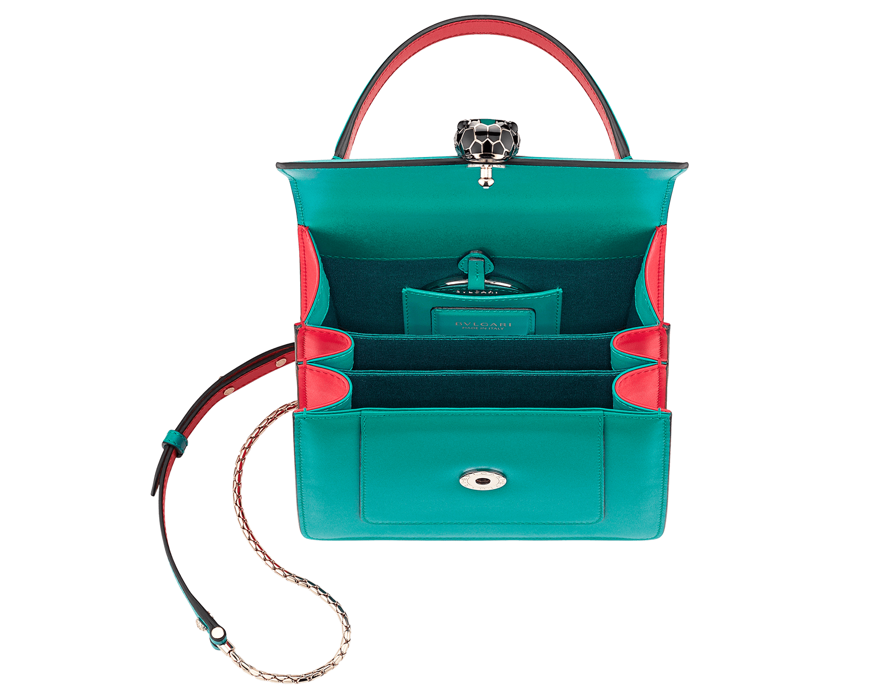 Serpenti Forever crossbody bag in tropical turquoise smooth calf leather body and sea star coral calf leather sides. Snakehead closure in light gold plated brass decorated with tropical turquoise and black enamel, and black onyx eyes. 287964 image 4
