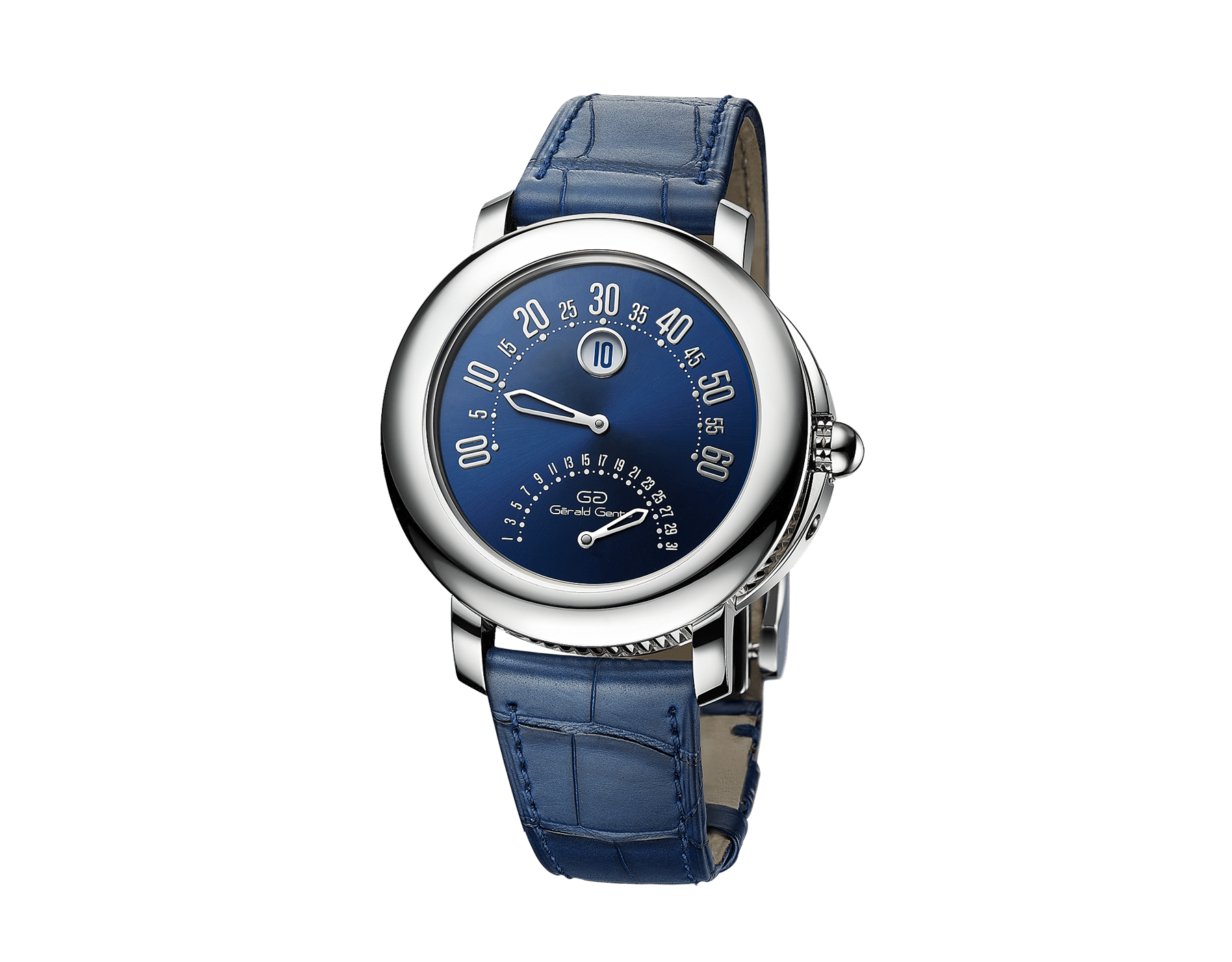 Gerald Genta 50th Anniversary Arena Bi-retro watch with mechanical manufacture movement, bidirectional automatic winding, jumping hours, retrograde minutes (210°) and date (180°), 41 mm platinum case, blue lacquered dial and blue alligator bracelet 103191 image 1