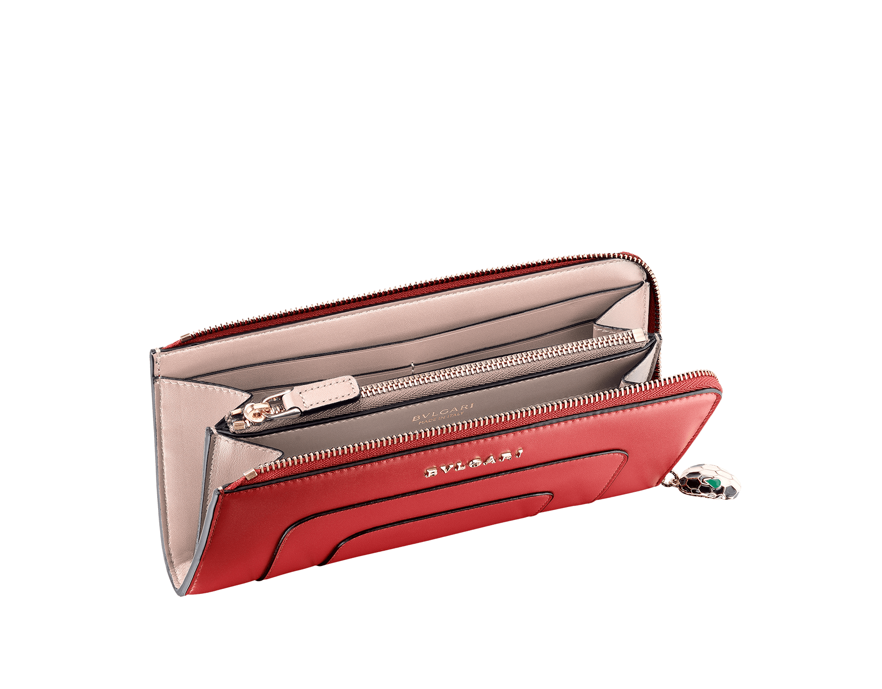 L-shaped zipped wallet in ruby red and desert quartz calf leather with brass light gold plated hardware. Iconic black and white enamel Serpenti head zip puller with malachite enamel eyes. 281289 image 2