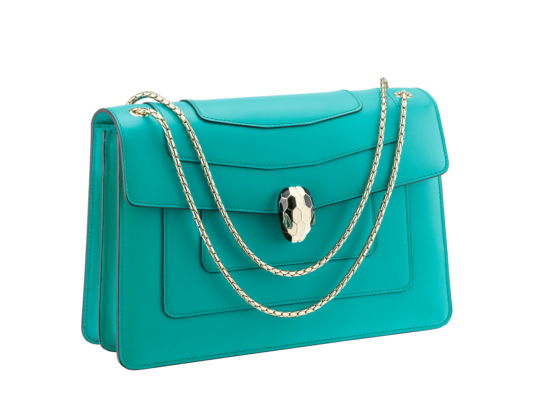 Serpenti Forever shoulder bag in tropical turquoise smooth calf leather. Snakehead closure in light gold plated brass decorated with black and white enamel, and green malachite eyes. 287931 image 2