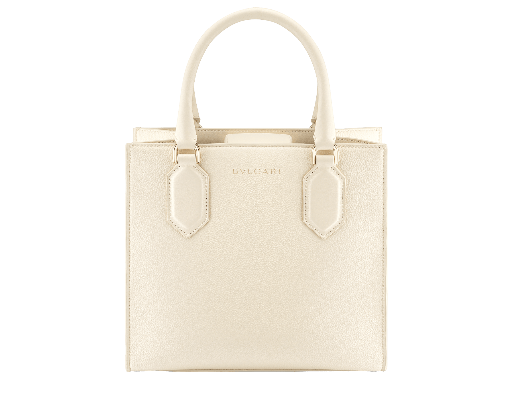 """Bvlgari Logo"" small tote bag in Ivory Opal white calf leather, with Beet Amethyst purple grosgrain inner lining. Bvlgari logo featuring light gold-plated brass chain inserts on the Ivory Opal white calf leather. BVL-1159-CL image 3"