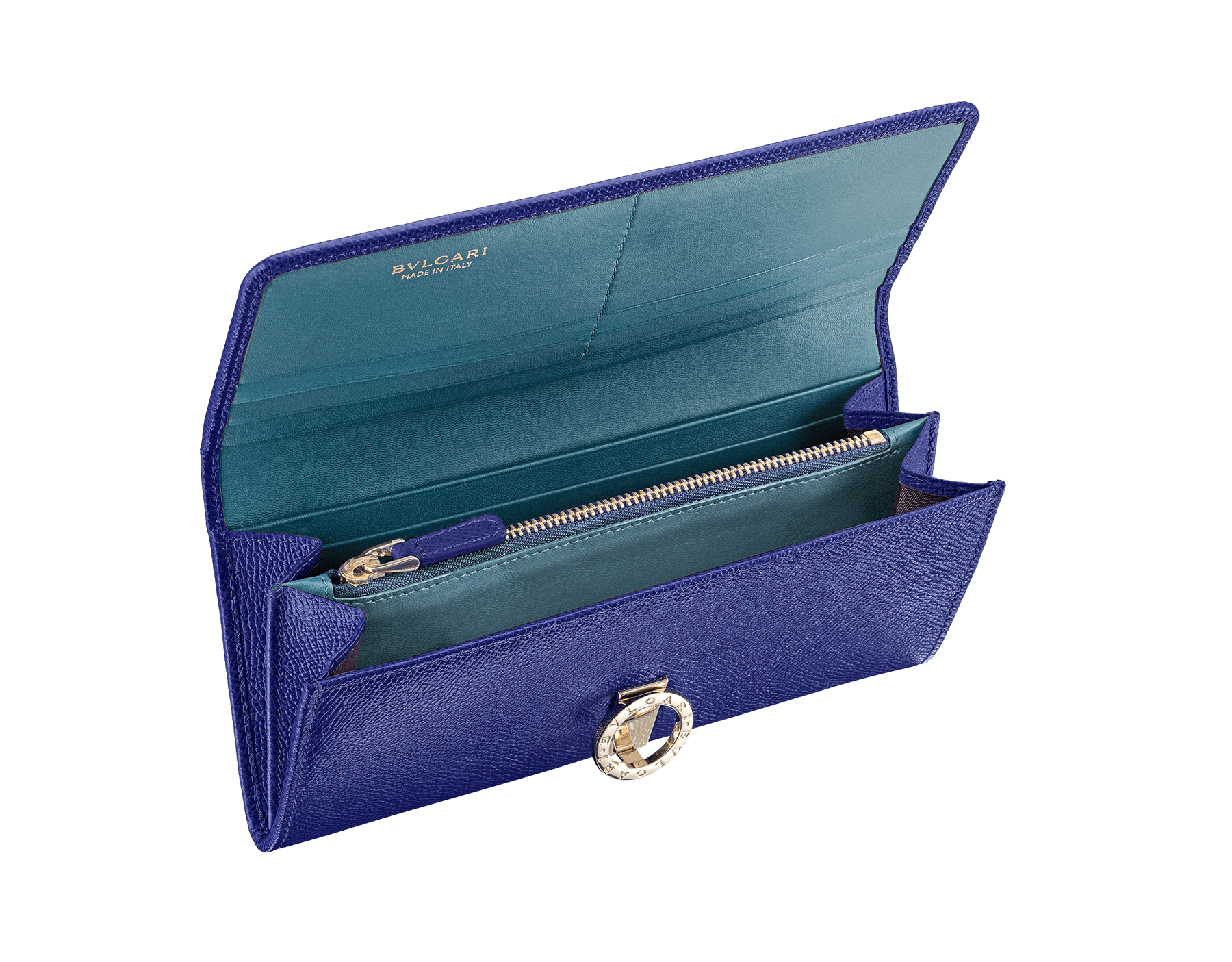Wallet pochette in royal sapphire bright grain calf leather and teal topaz nappa with plum amethyst nappa lining. Brass light gold plated hardware and iconic BVLGARI BVLGARI closure clip. Nine credit card slots, two bill compartments, one zipped coin case. Also available in other colours. 19 x 9 cm. - 7.5 x 3.5 281443 image 2