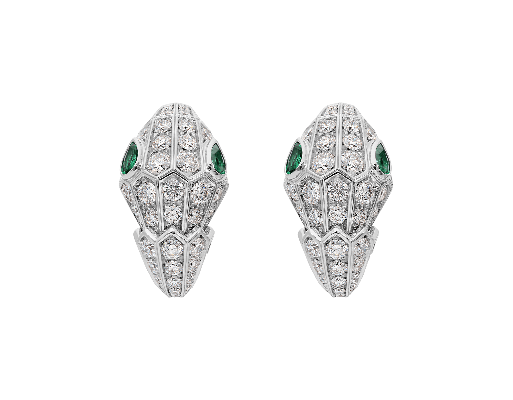 Serpenti 18 kt white gold earrings set with pavé diamonds (3.22ct) and two emerald eyes. (0.51ct) 354702 image 1