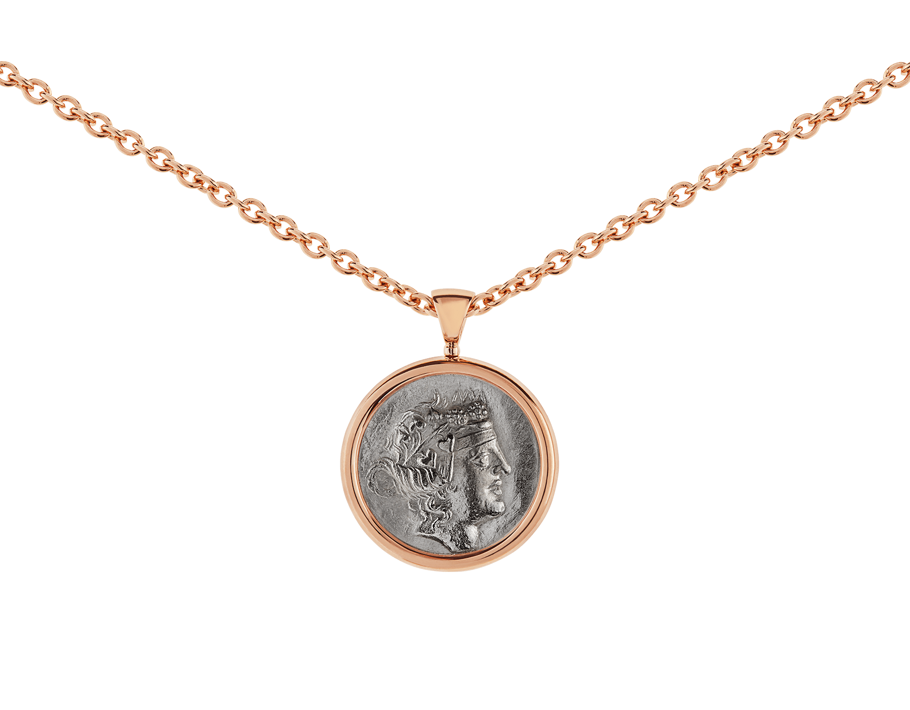 Monete necklace with 18 kt rose gold chain and 18 kt rose gold pendant set with an antique coin 347707 image 3