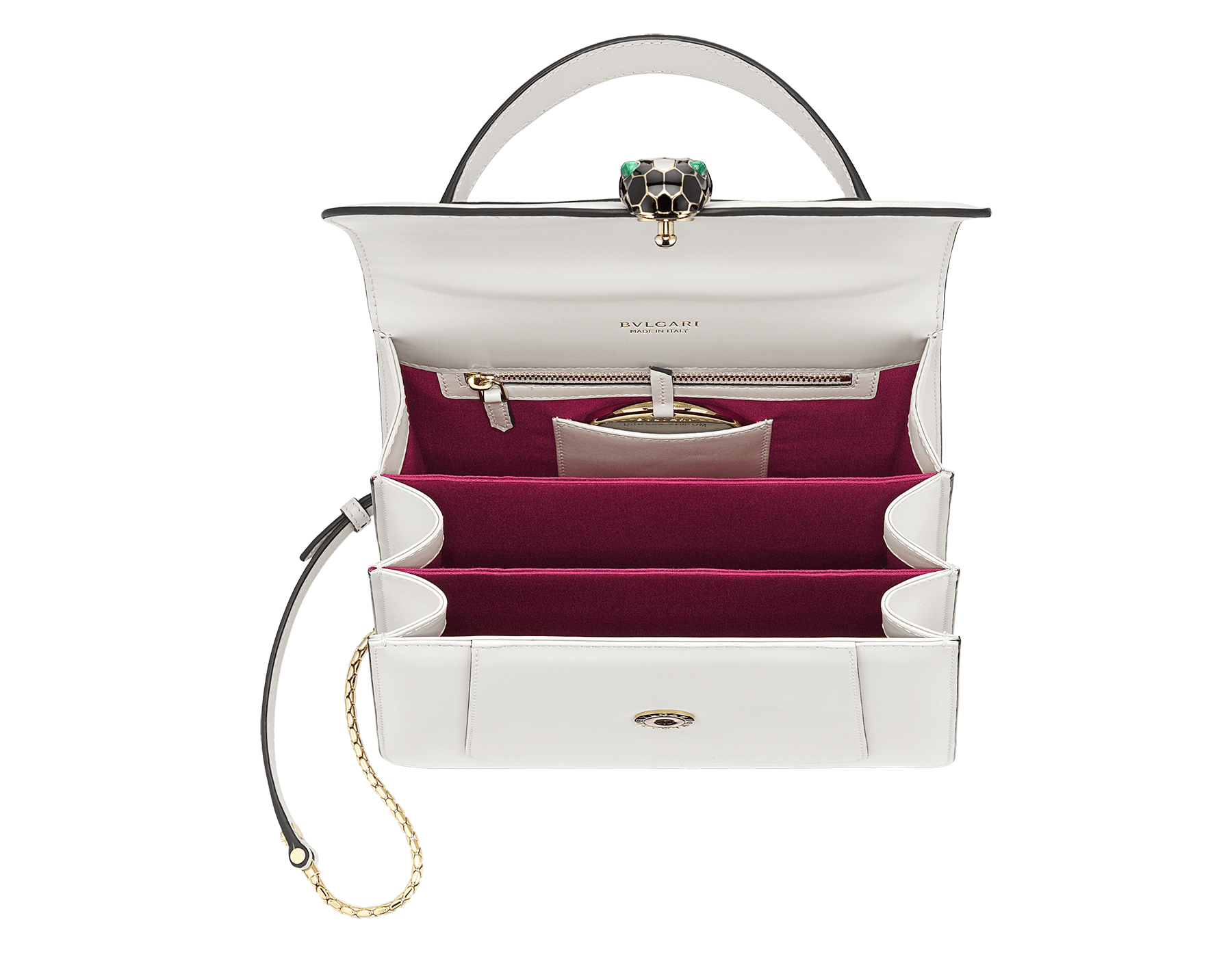 """Serpenti Forever"" top handle bag in daisy topaz calf leather. Iconic snake head closure in light gold plated brass enriched with black and white enamel and green malachite eyes. 1050-CL image 6"