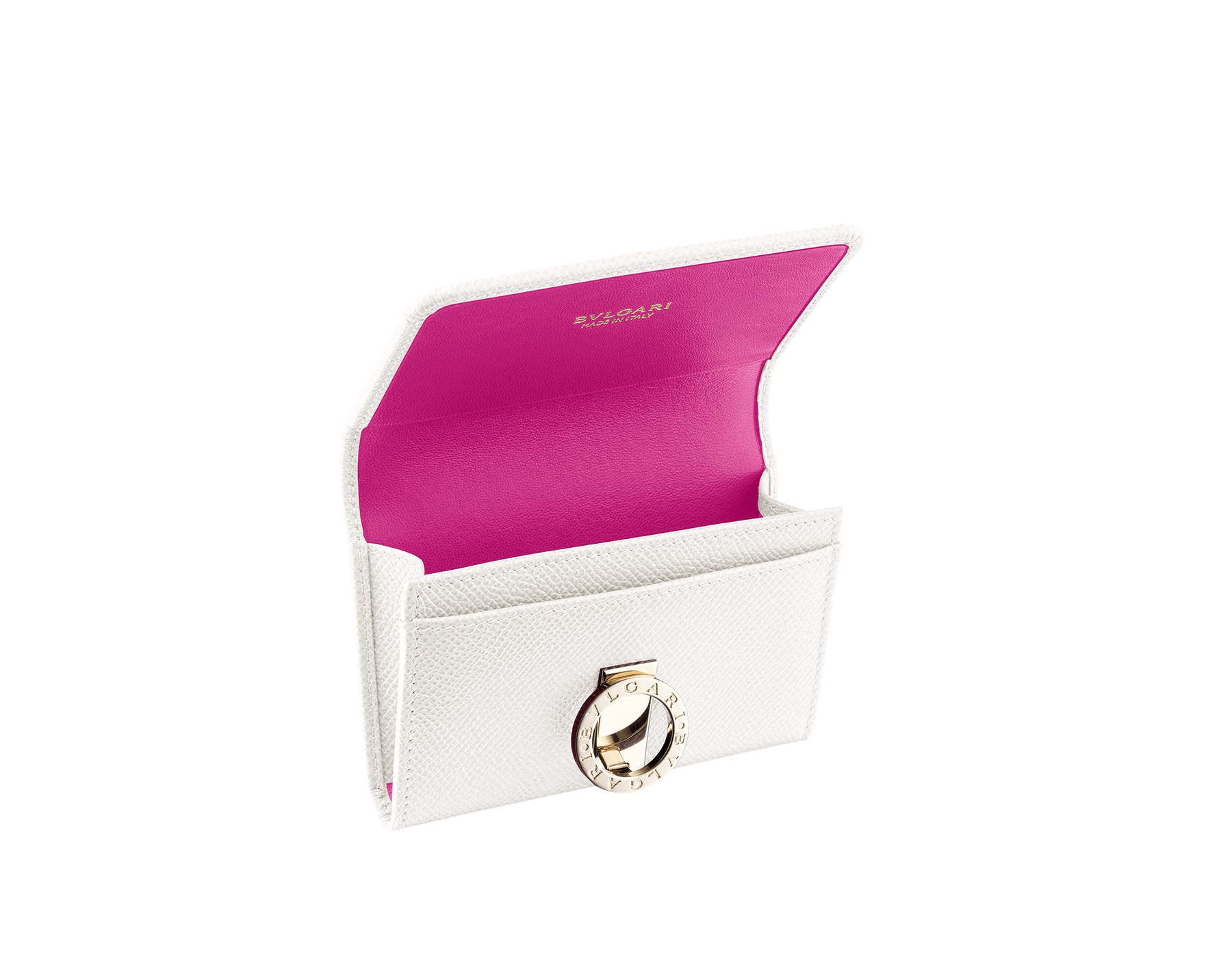 Business card holder in white agate bright grain calf leather, berry tourmaline nappa and tiger's eye nappa lining. Iconic brass light gold plated clip featuring the BVLGARI BVLGARI motif. 282417 image 2