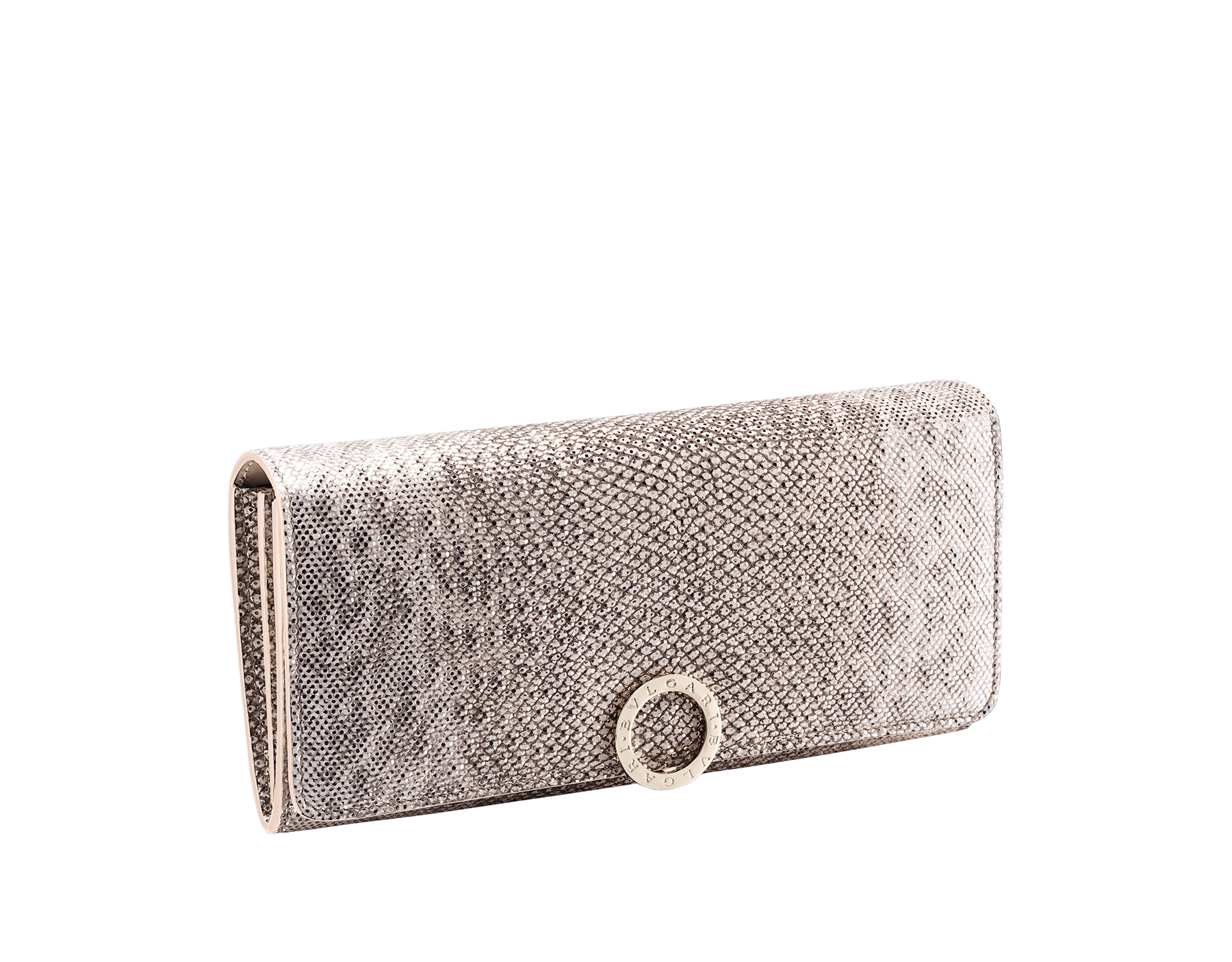 """BVLGARI BVLGARI"" large wallet in metallic Midnight Sapphire blue karung skin and black calfskin. Iconic logo clip closure in light gold plated brass. 579-WLT-SLI-POC-CL-MK image 1"