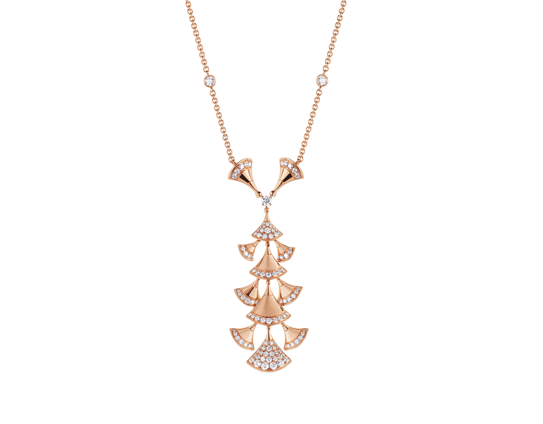 DIVAS' DREAM necklace in 18 kt rose gold set with diamonds and pavé diamonds. 352607 image 1