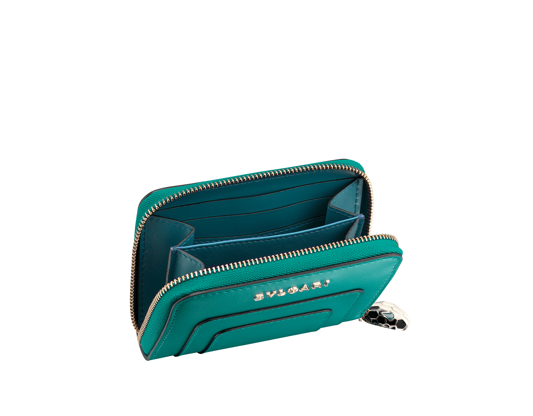 Serpenti Forever mini zipped wallet in tropical tourquoise and deep jade calf leather. Iconic snakehead zip puller in black and white enamel, with green enamel eyes. 288010 image 2