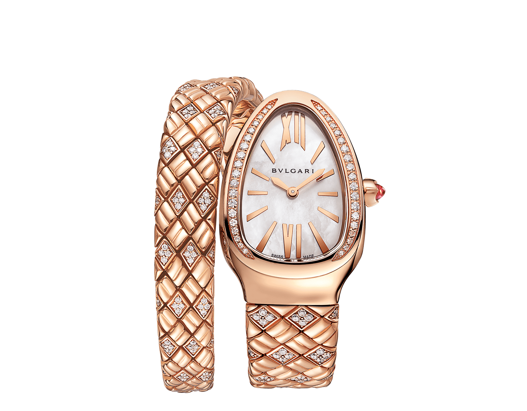 Serpenti Spiga single-spiral watch with 18 kt rose gold case and bracelet set with diamonds, and white mother-of-pearl dial 103250 image 1