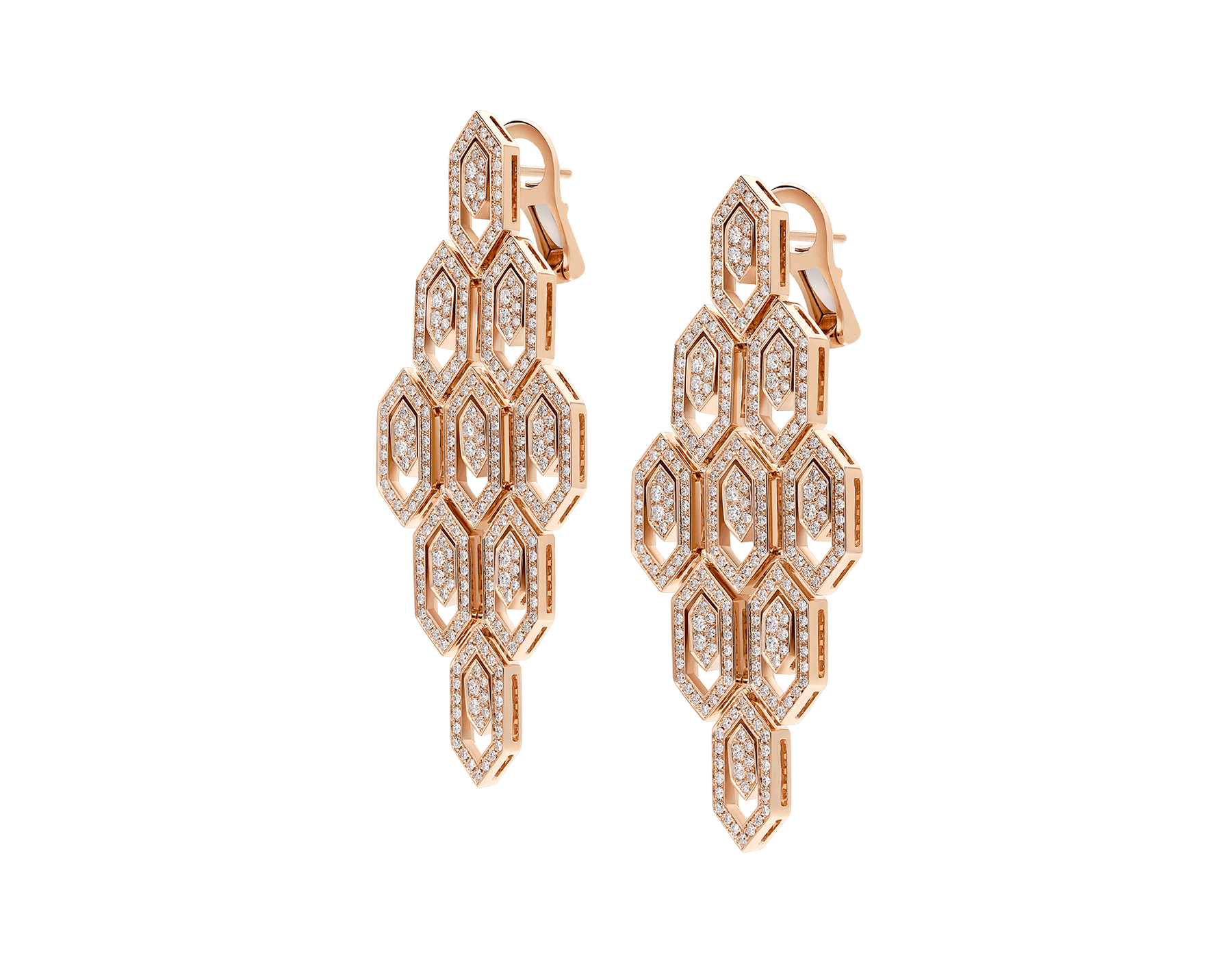 Serpenti 18 kt rose gold earrings set with pavé diamonds. 356507 image 2